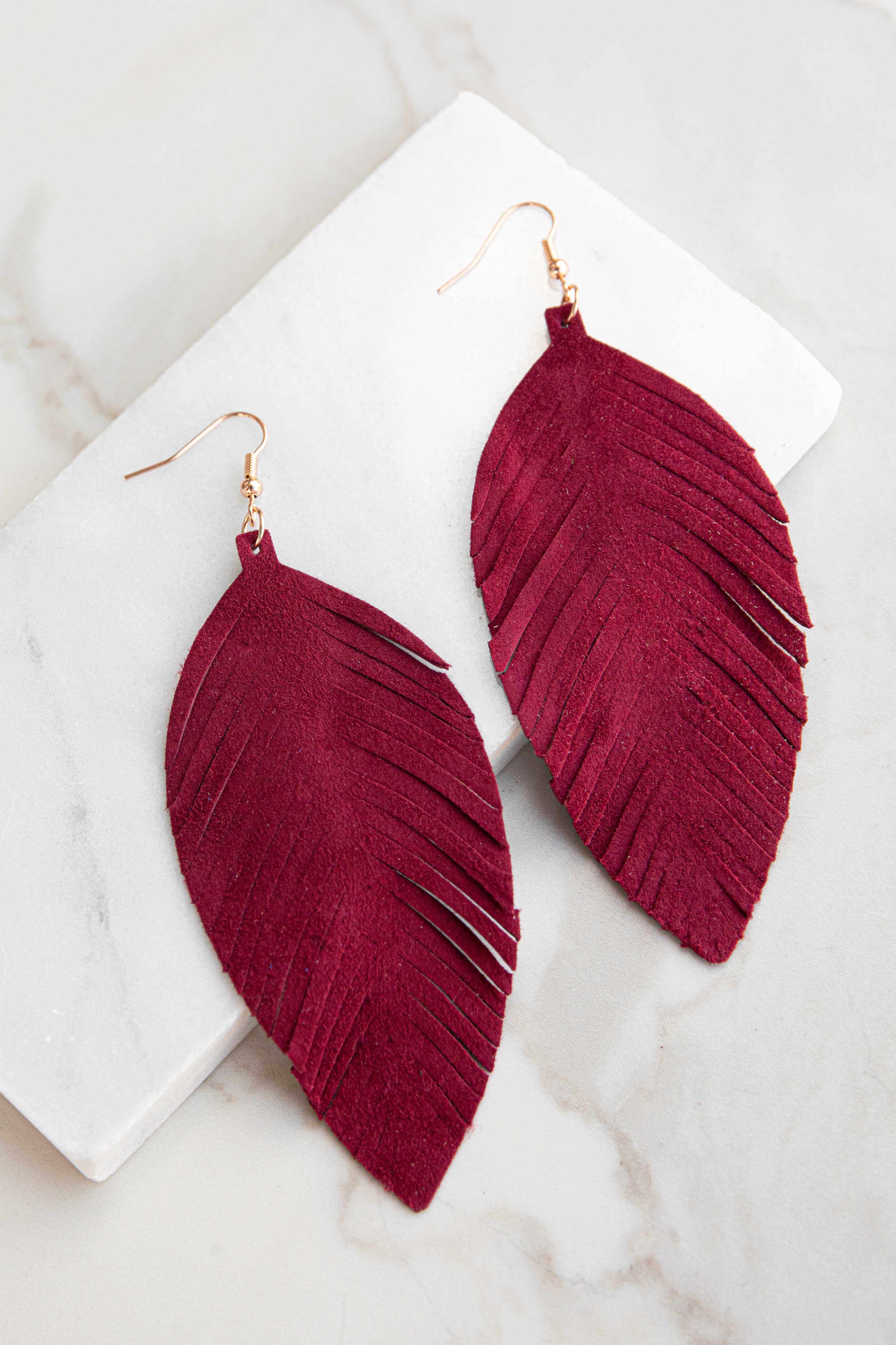 Burgundy Genuine Leather Feather Shaped Dangle Earrings