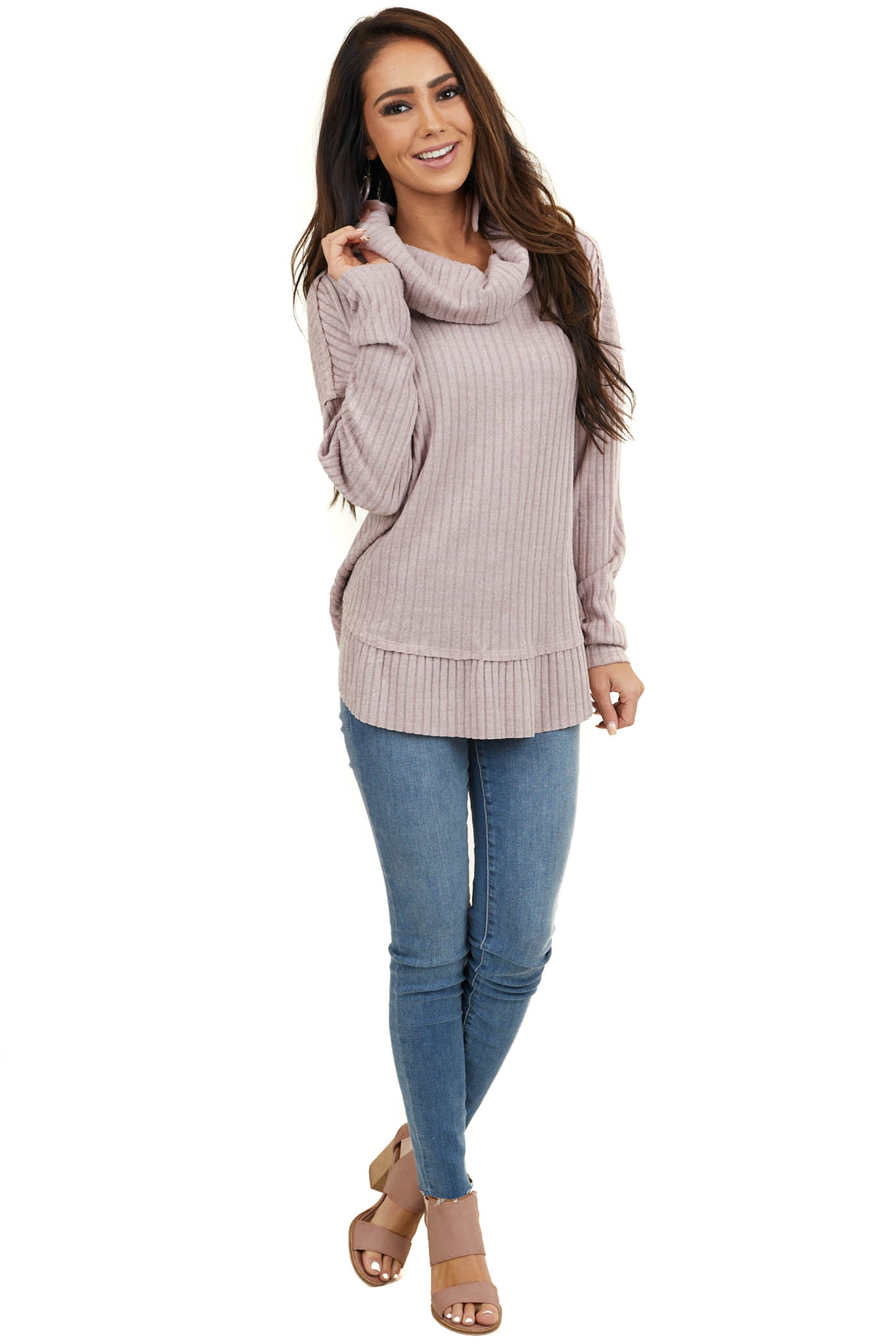 Dusty Mauve Ribbed Cowl Neck Sweater with Raw Seam Details