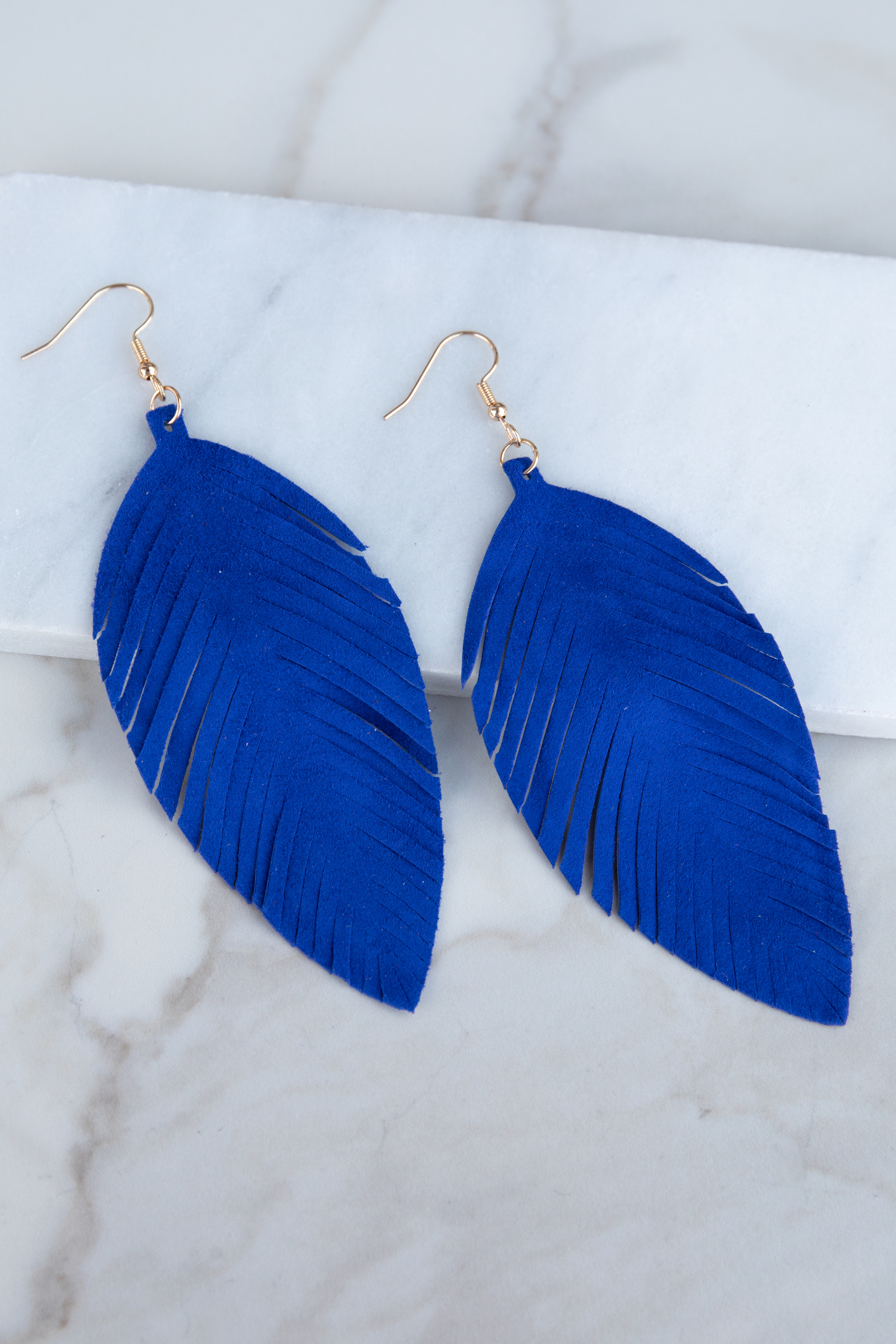 Royal Blue Genuine Leather Feather Shaped Dangle Earrings