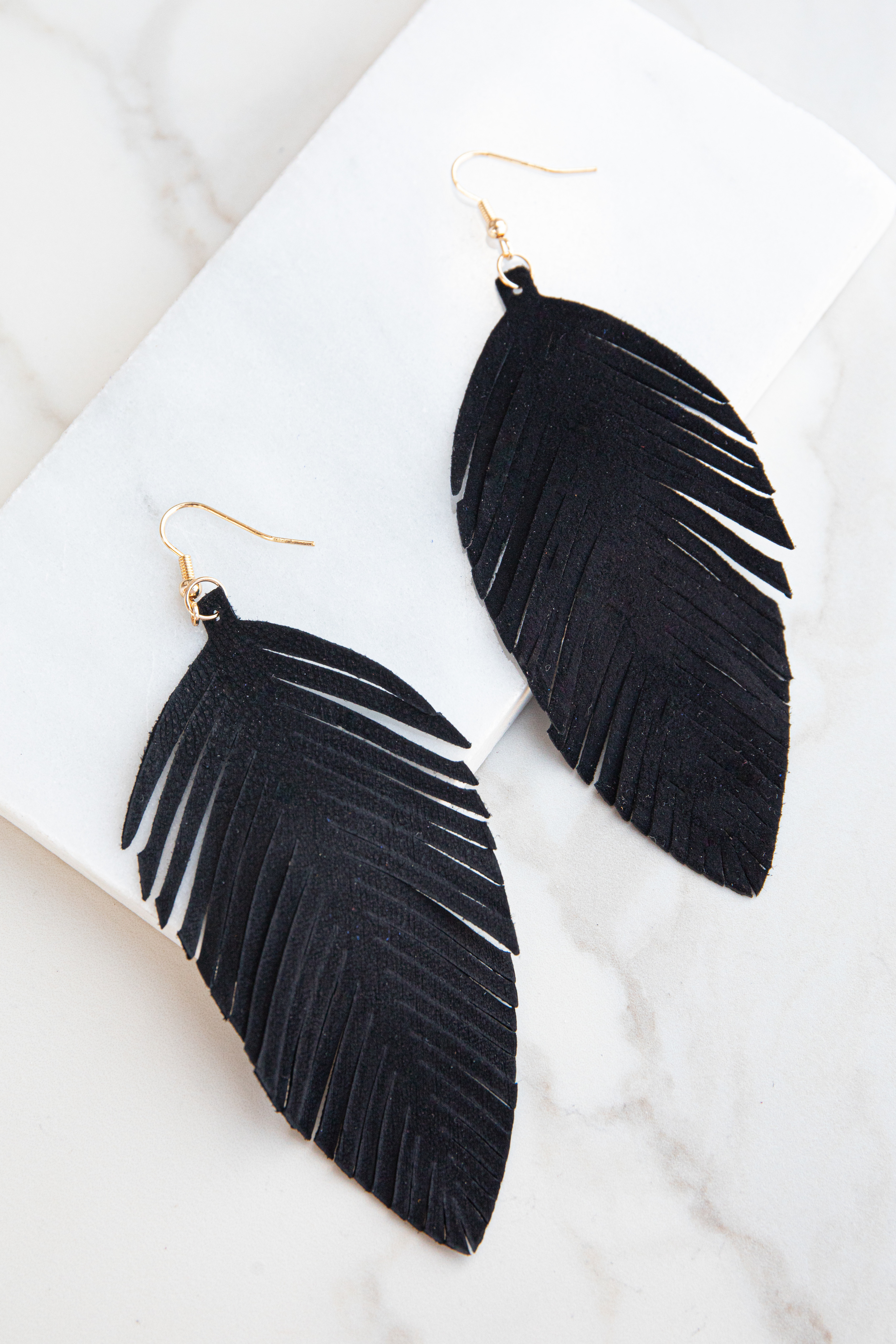 Black Genuine Leather Feather Shaped Dangle Earrings