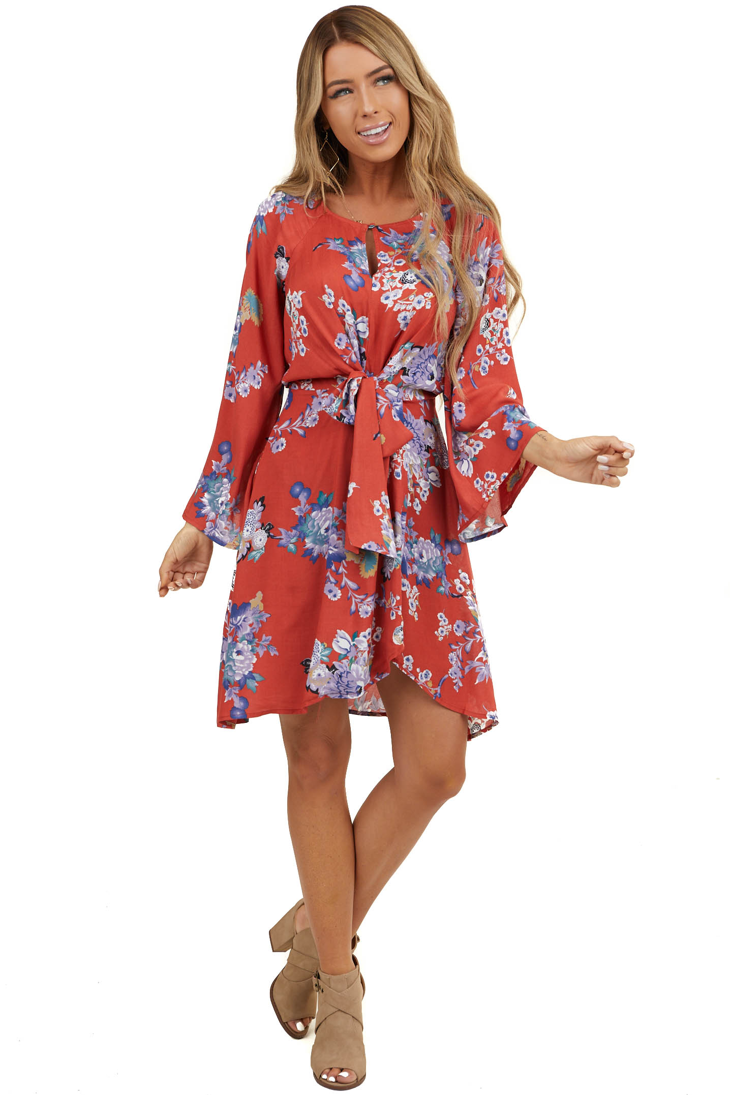 Deep Rust Floral Long Sleeve Short Dress with Front Tie