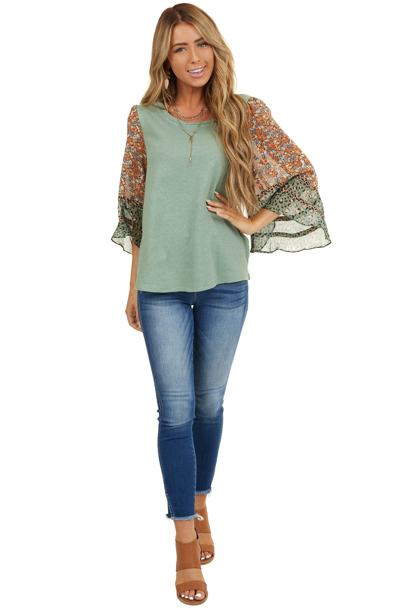 Sage Top with Floral and Leopard Print Bell Sleeves