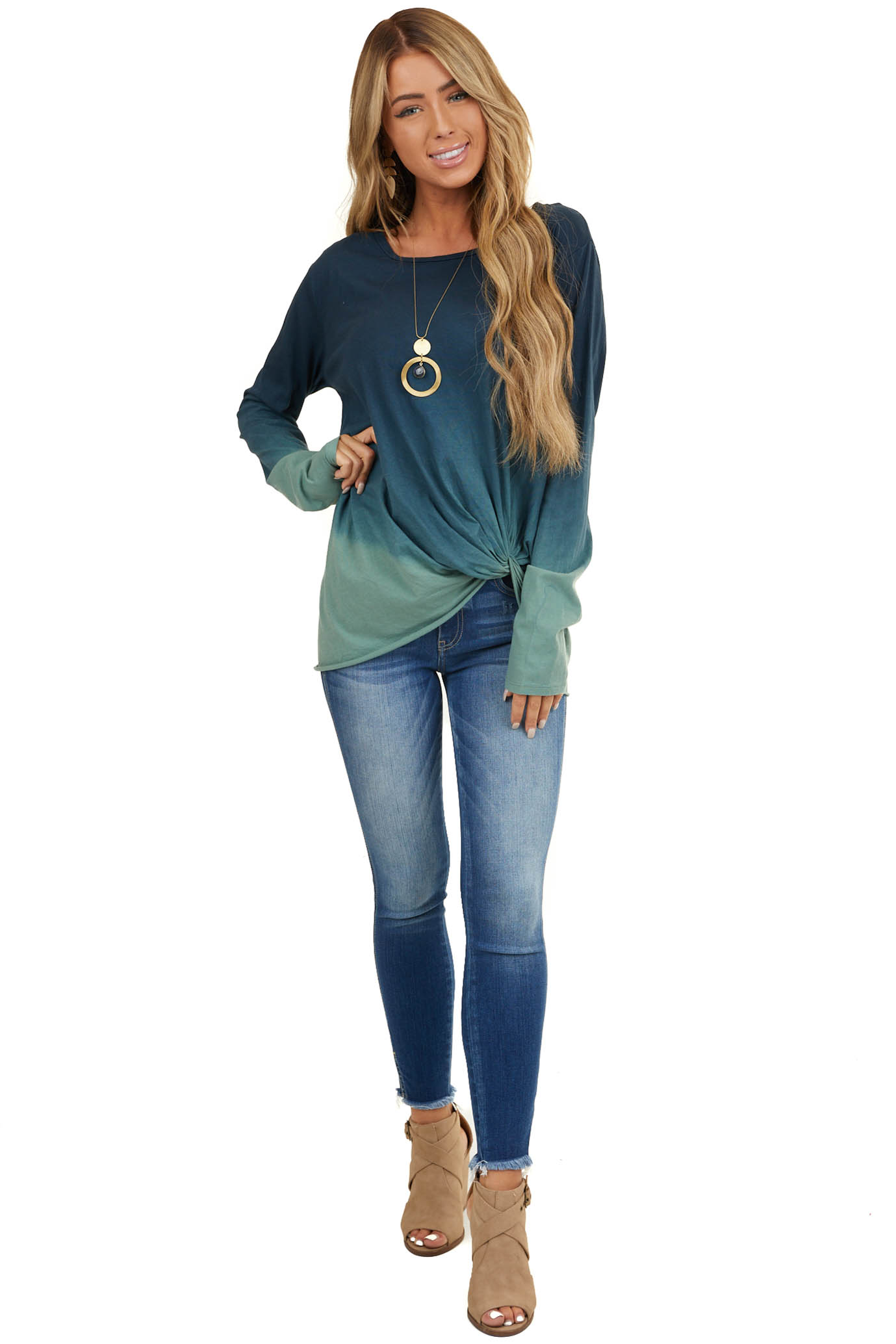 Navy and Teal Ombre Long Sleeve Top with Front Knot Detail