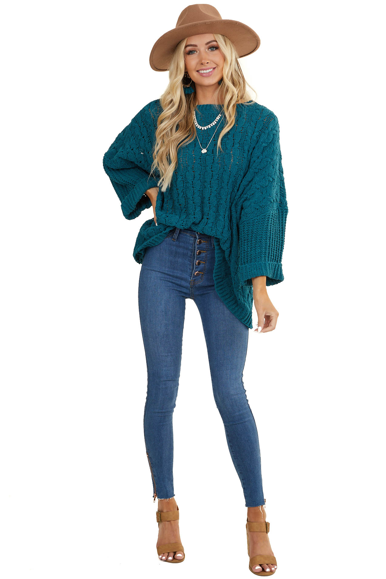 Deep Pine Oversized Cable Knit Sweater with 3/4 Sleeves
