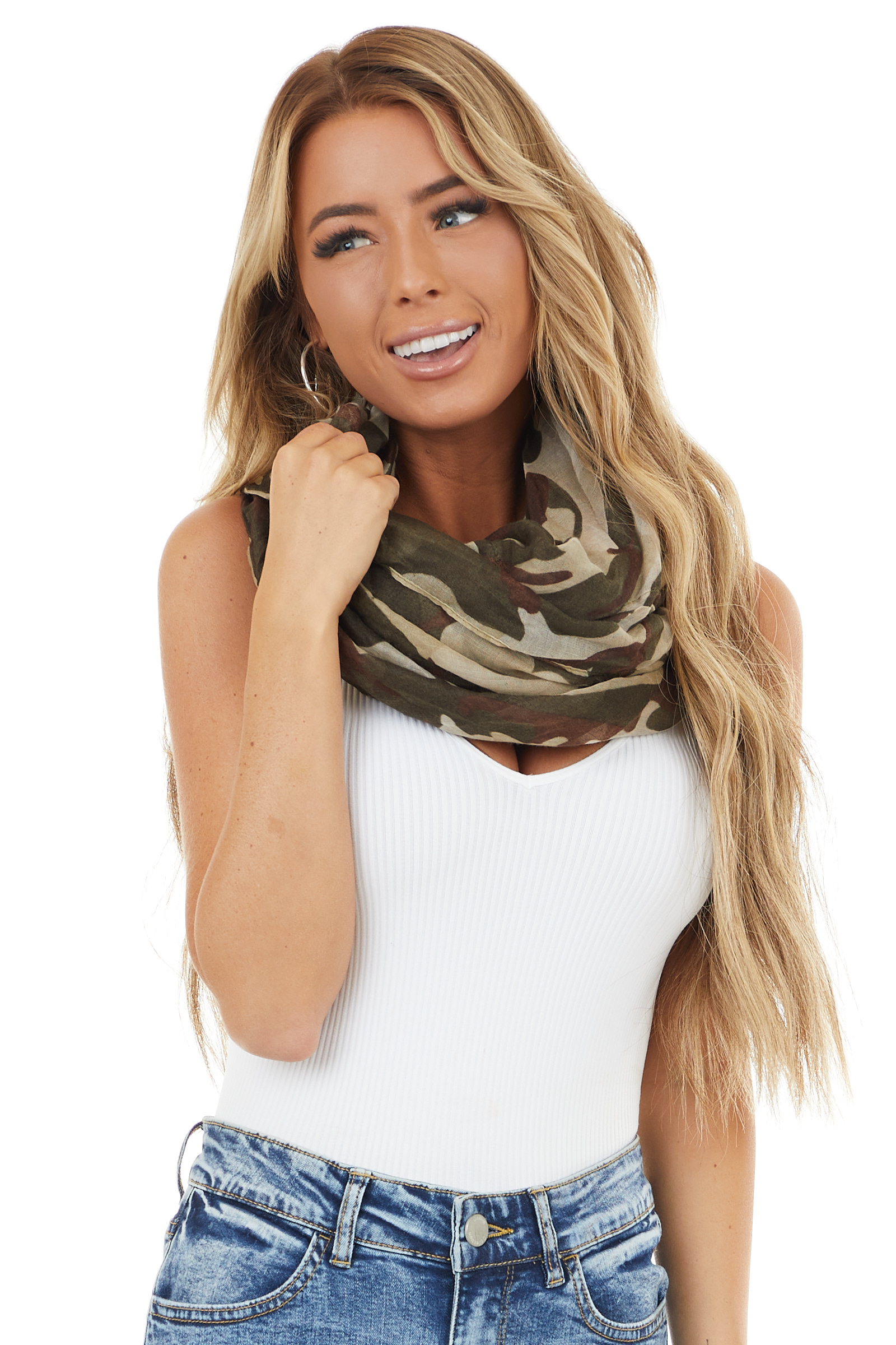 Dark Olive Camouflage Lightweight Woven Infinity Scarf