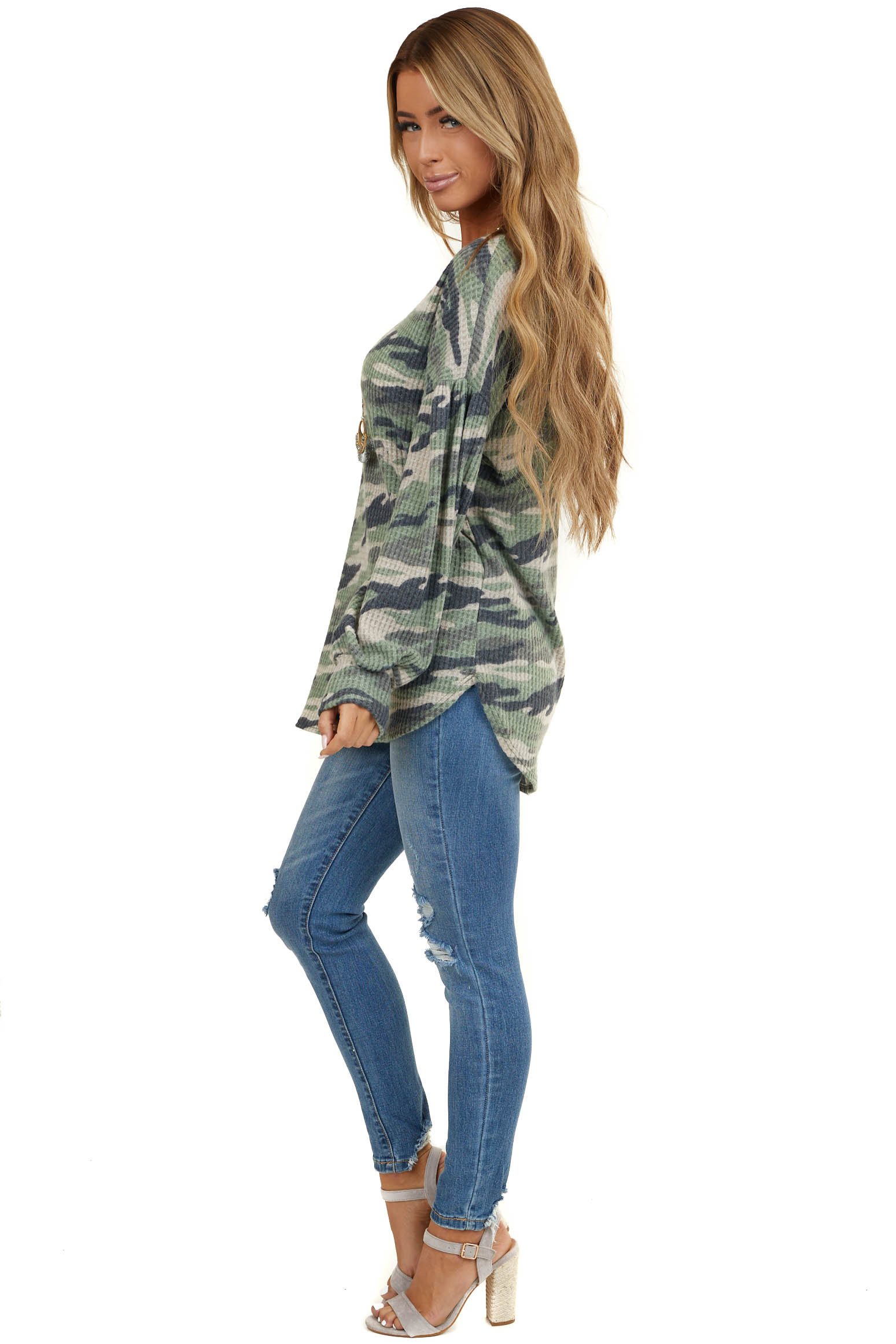 Sage Camo Waffle Knit Top with Long Puff Sleeves
