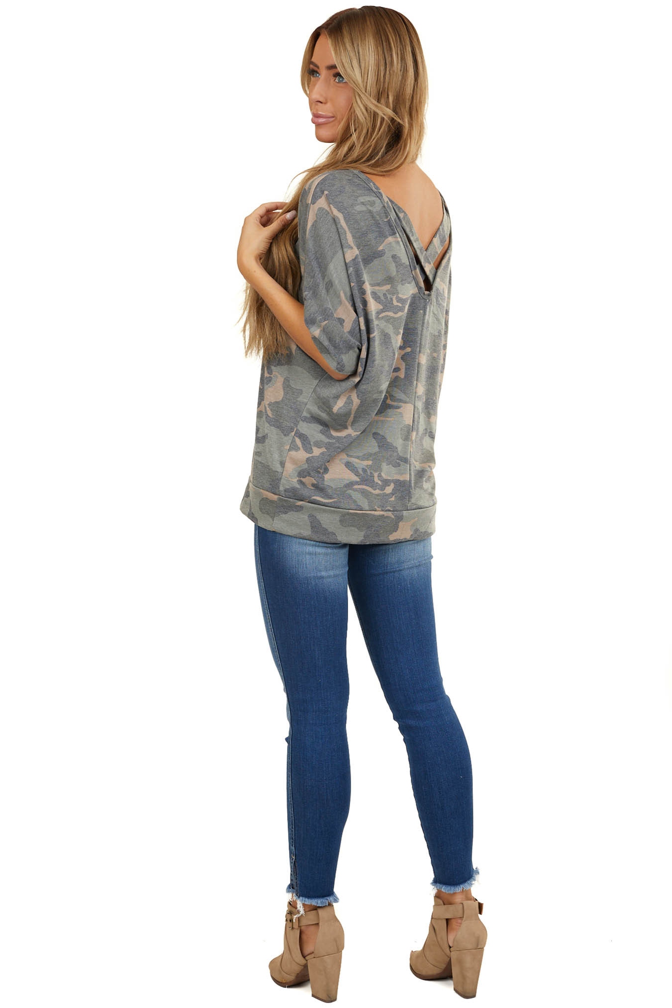 Camo Bat Wing Short Sleeve Top with Criss Cross Back