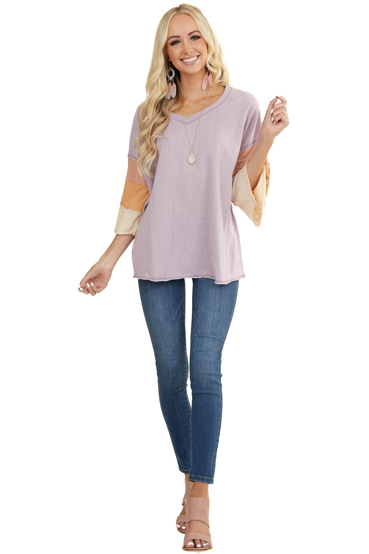Lavender Oversized Top with Multicolor 3/4 Length Sleeves