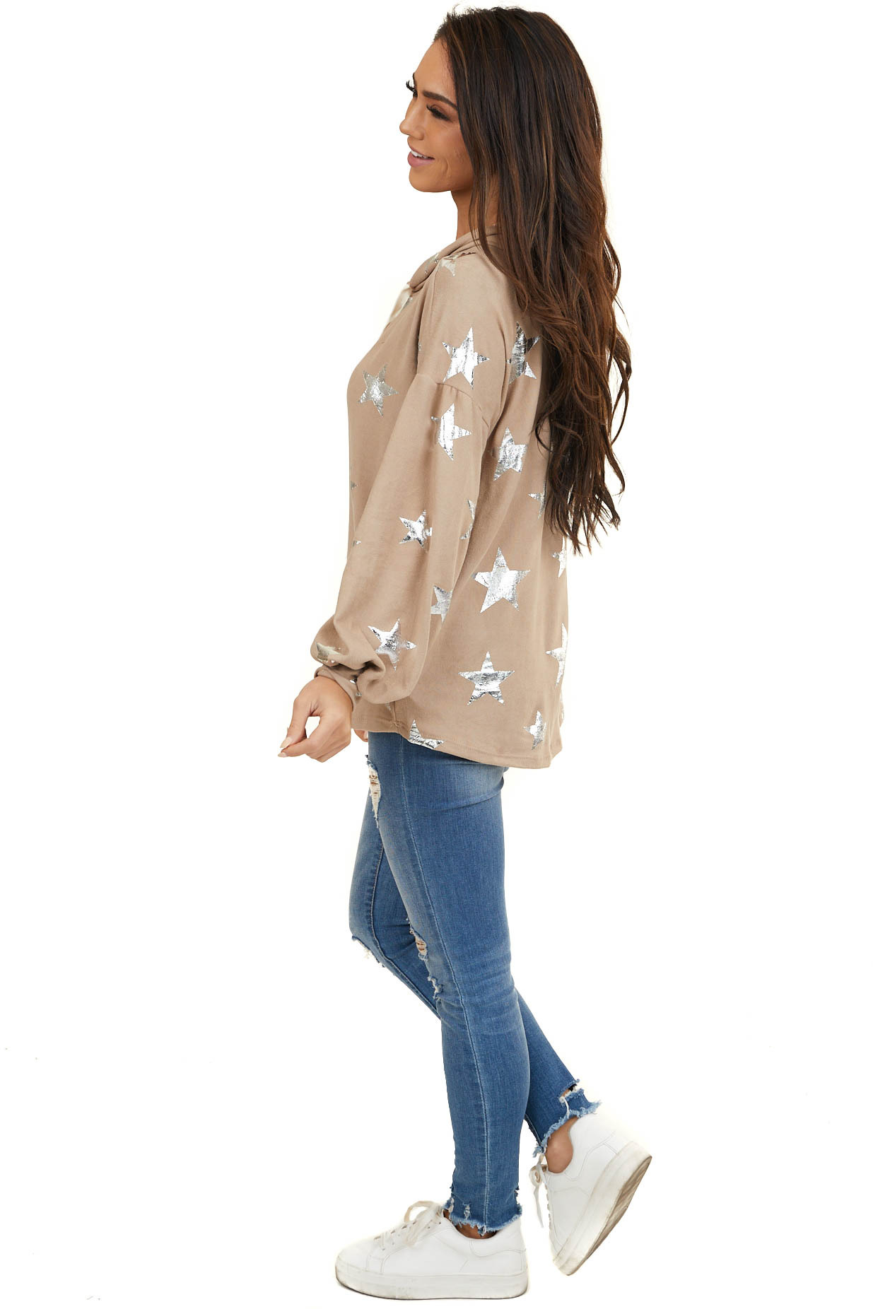 Dusty Rose Hooded Top with Distressed Silver Stars