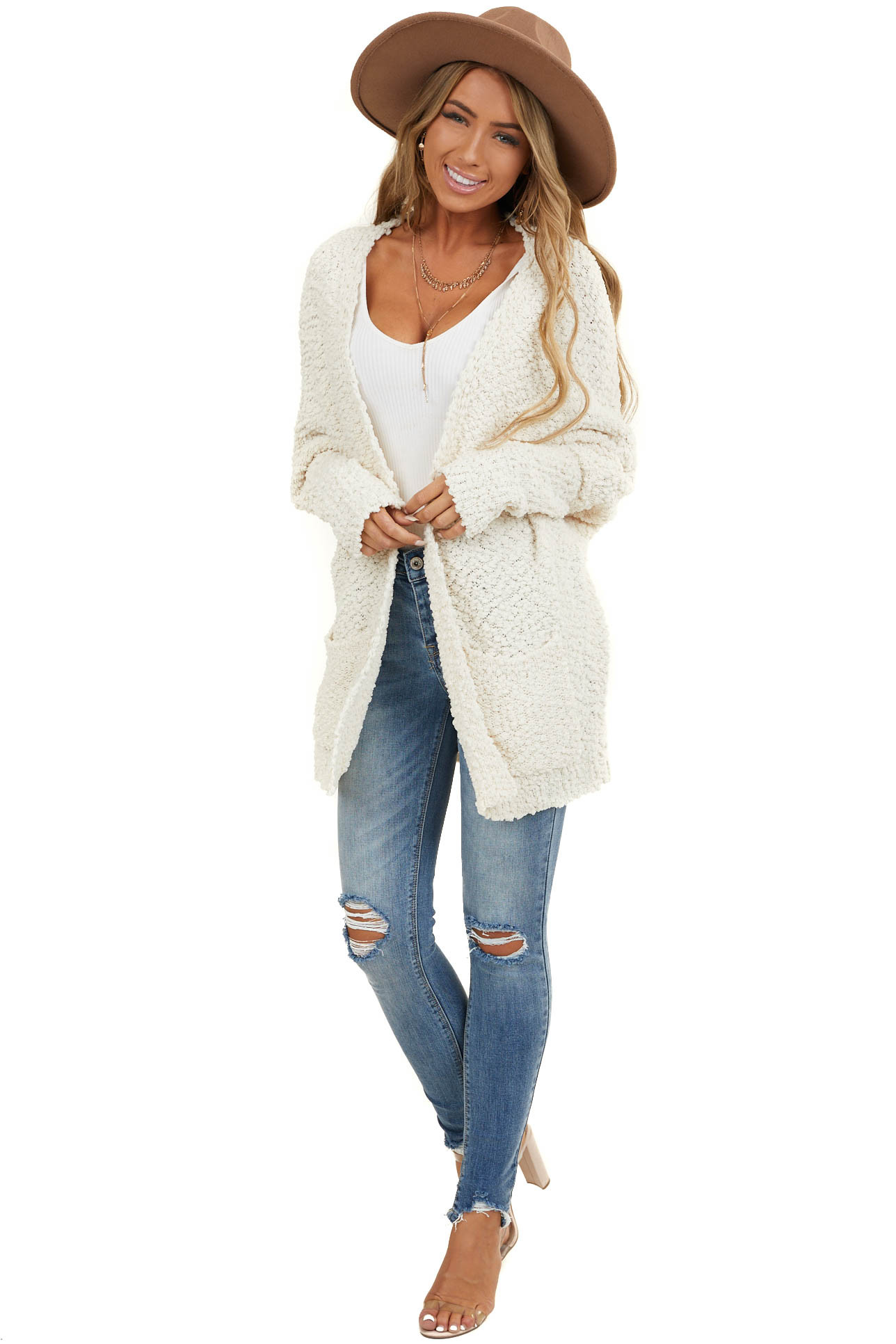 Cream Thick Knit Cardigan with Side Pockets