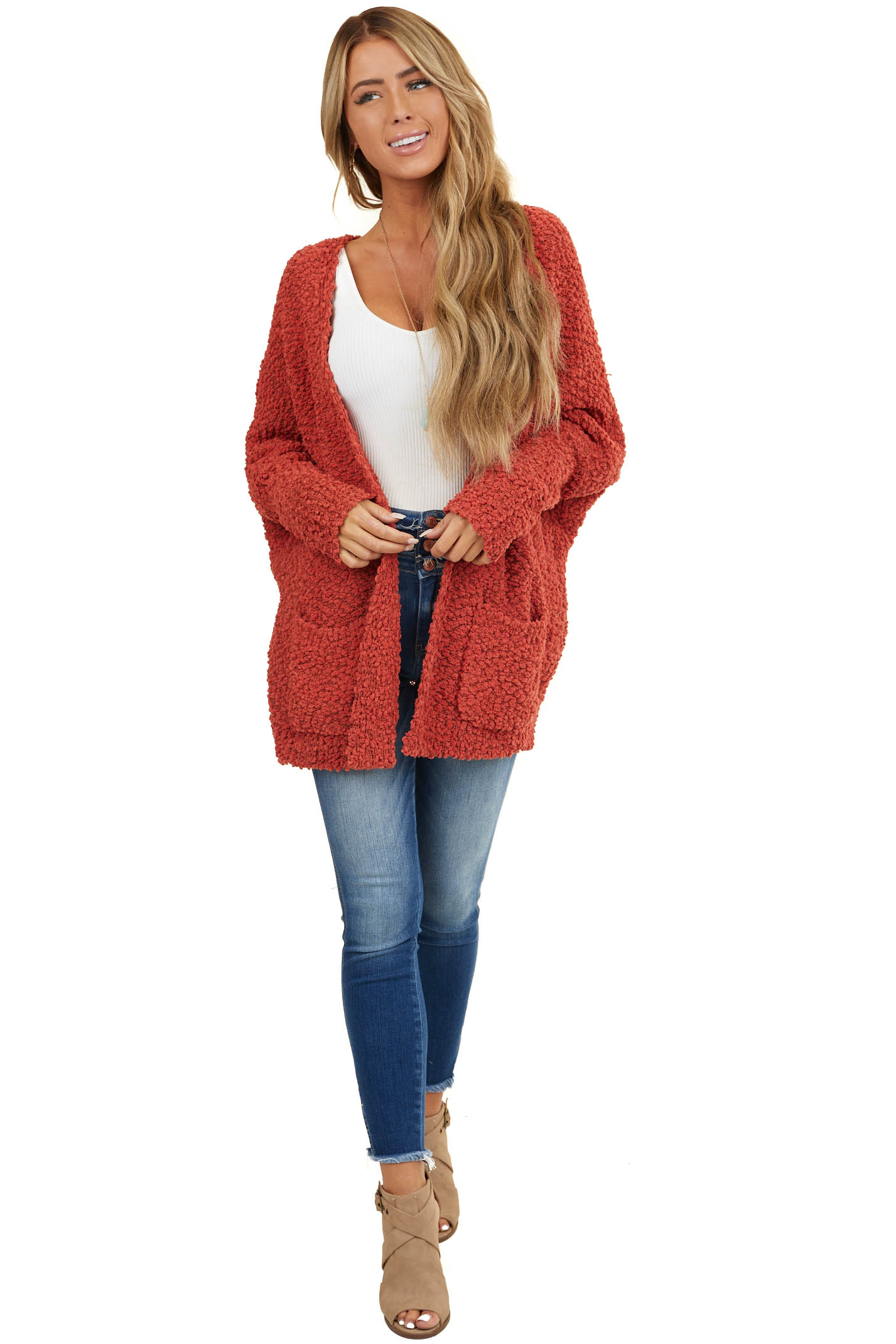 Brick Red Thick Knit Cardigan with Side Pockets