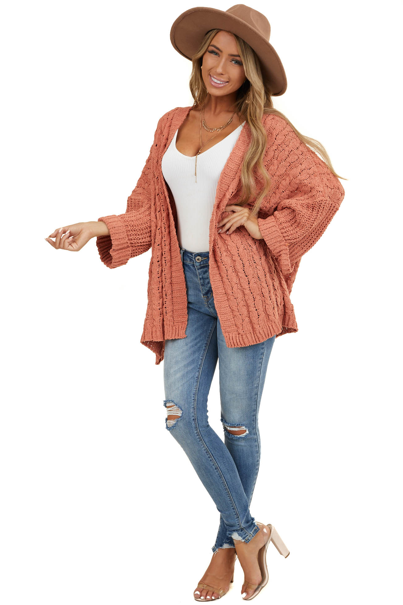 Salmon Cable Knit Cardigan with Long Dolman Sleeves