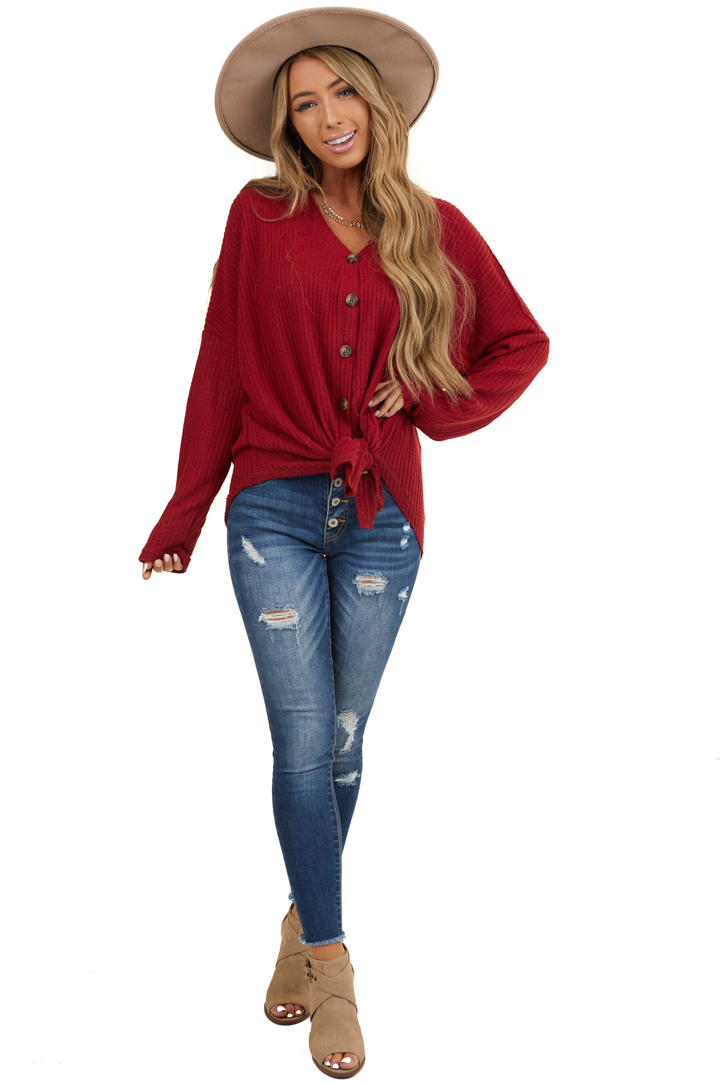 Maroon Button Up Waffle Knit Sweater with V Neckline