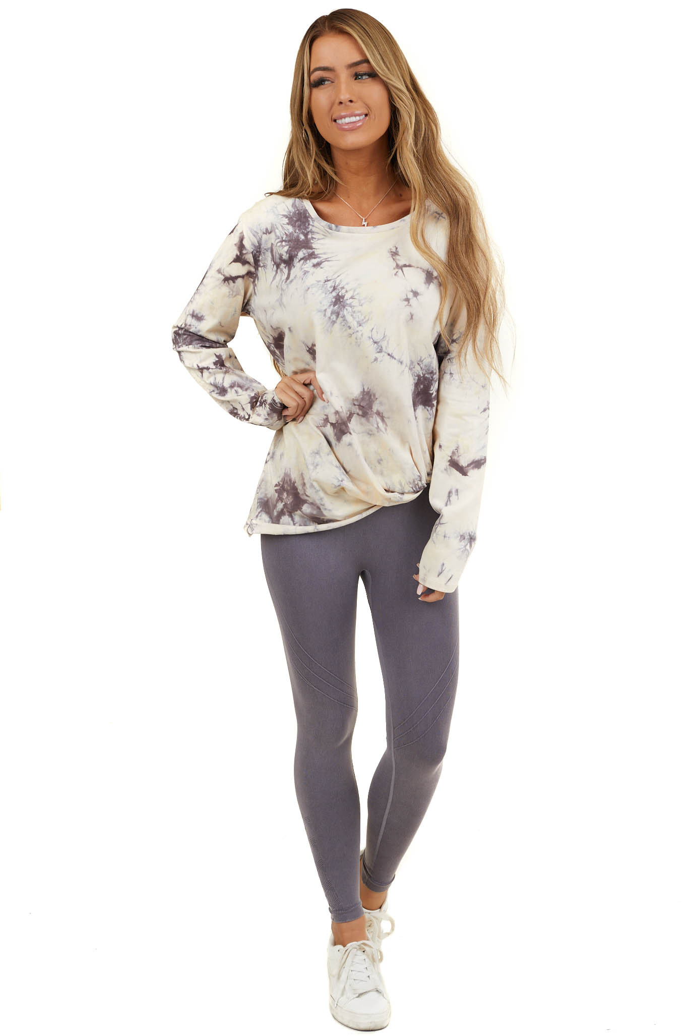 Coffee and Cream Tie Dye Long Sleeve with Front Knot Detail