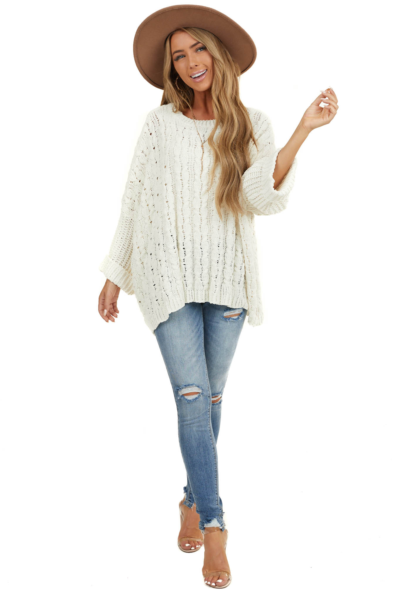 Cream Oversized Cable Knit Sweater with 3/4 Sleeves