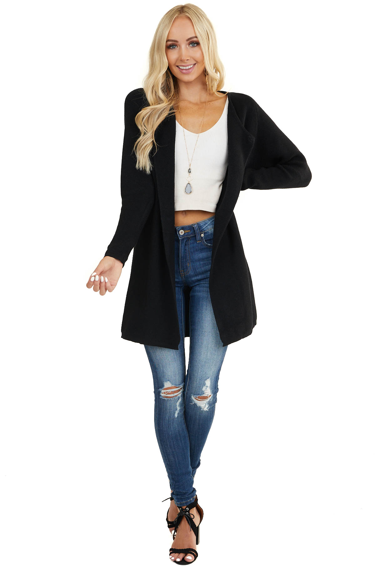 Black Soft Knit Open Front Cardigan with Long Sleeves