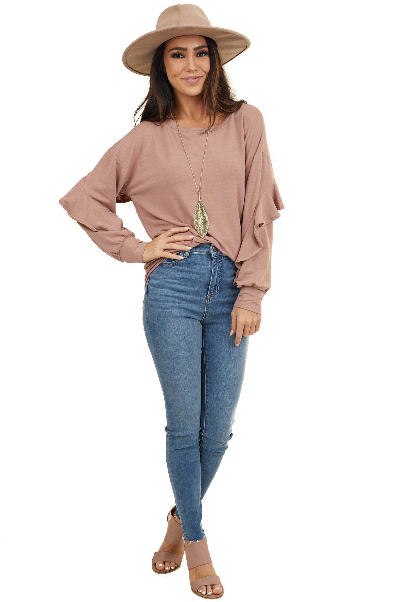 Mauve Long Sleeve French Terry Top with Ruffle Detail