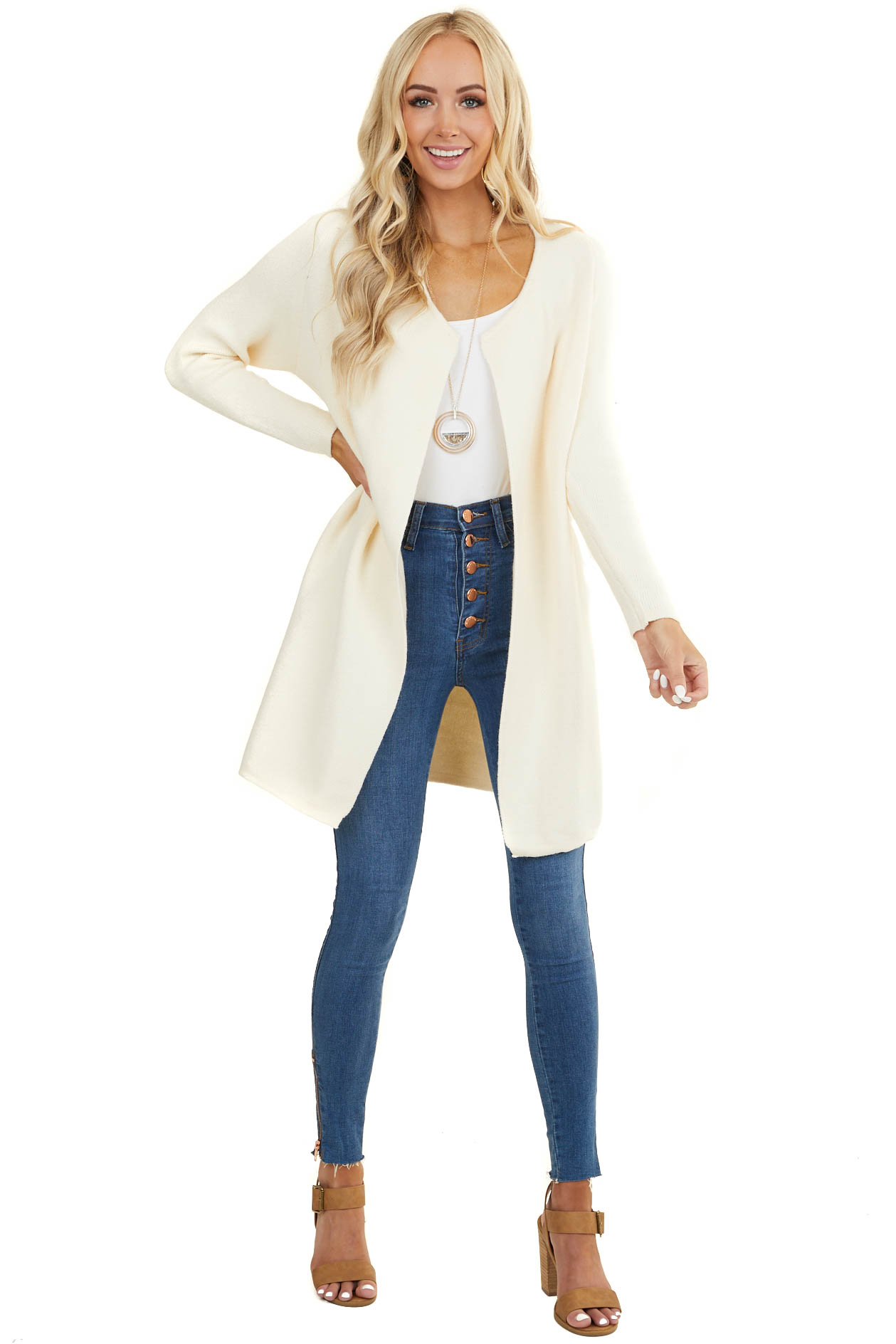 Ivory Soft Knit Open Front Cardigan with Long Sleeves