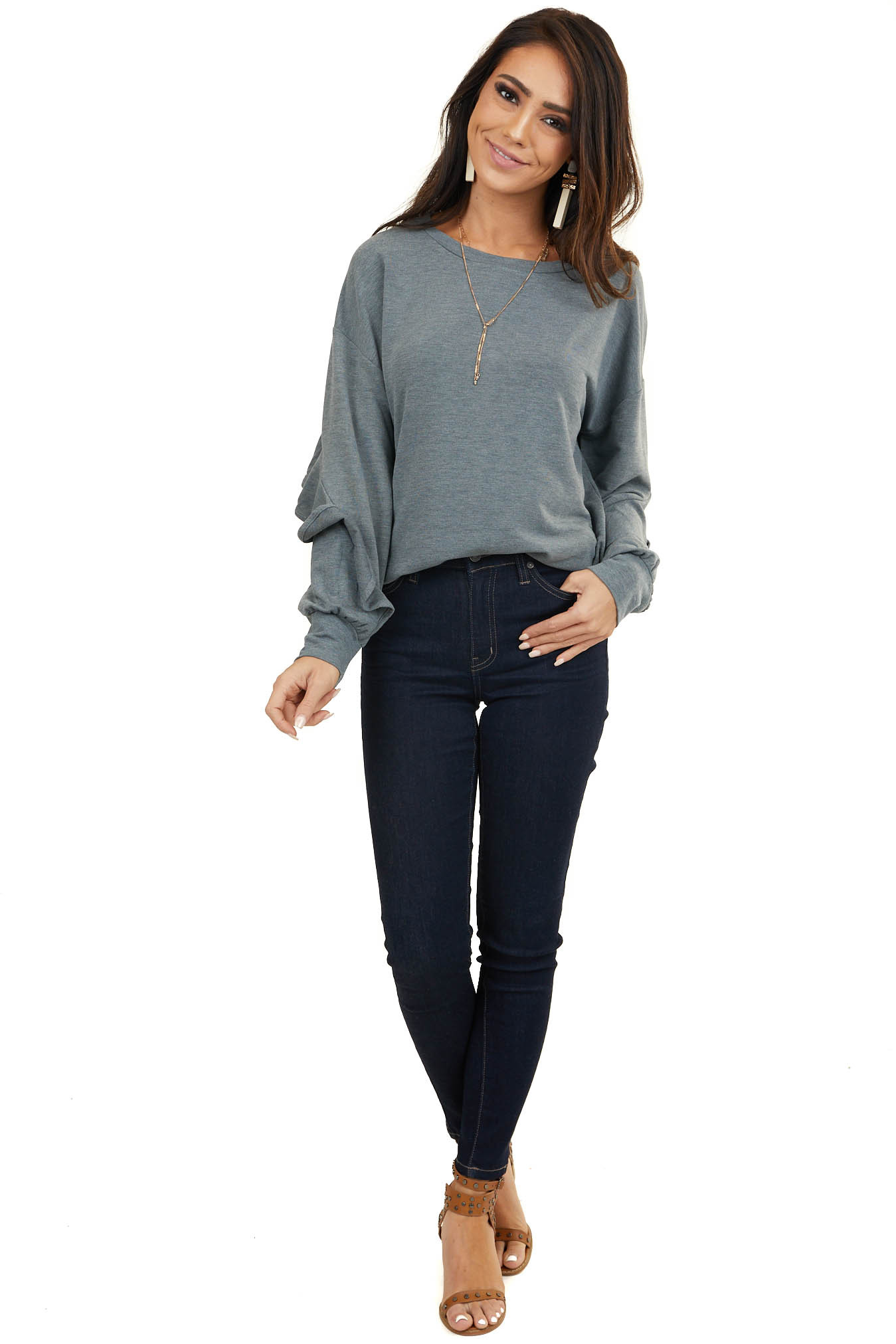 Stormy Grey Long Sleeve French Terry Top with Ruffle Detail
