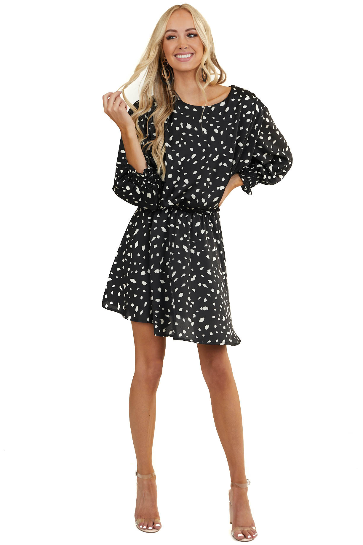 Black Abstract Print Short Woven Dress with 3/4 Sleeves
