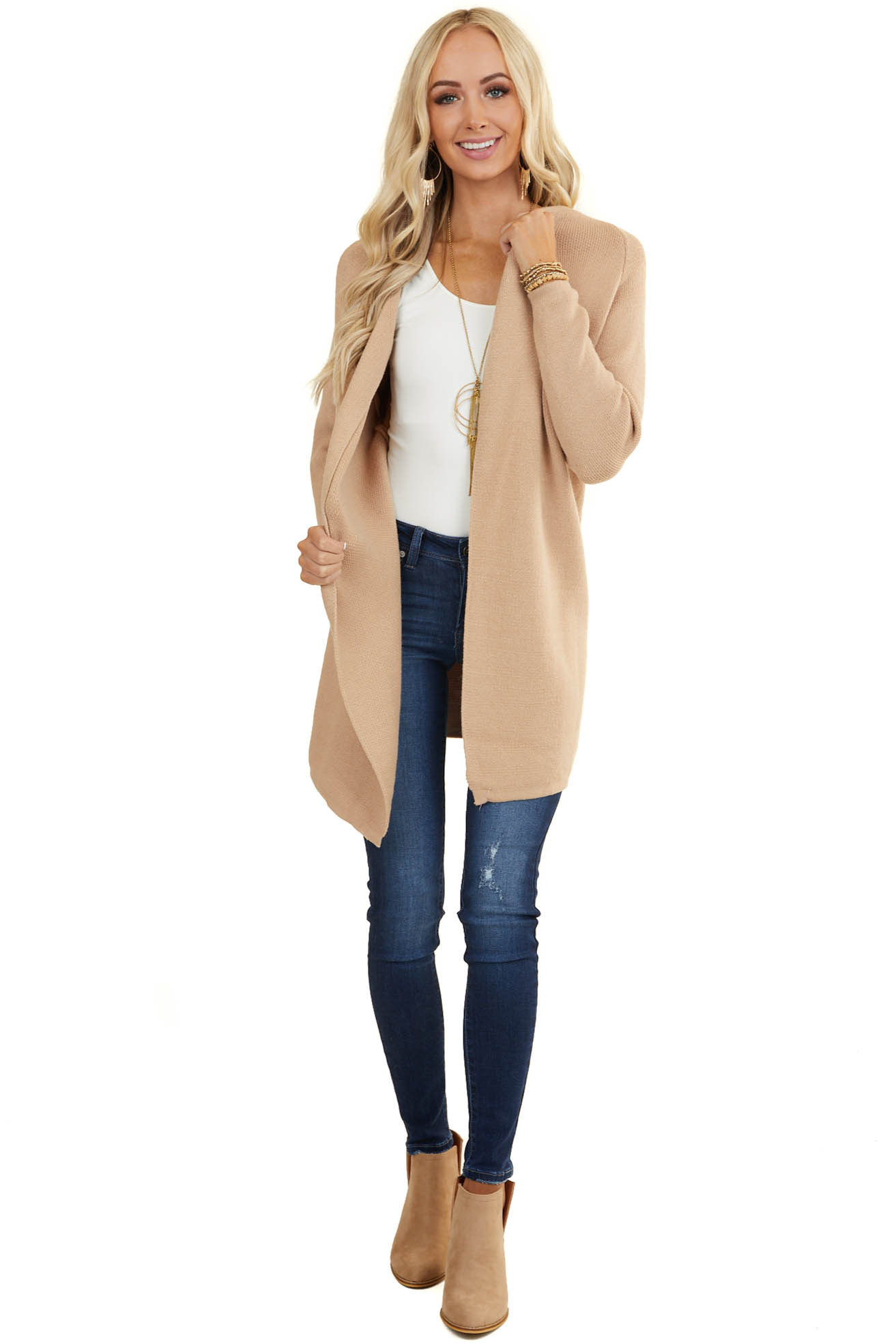 Beige Soft Knit Open Front Cardigan with Long Sleeves