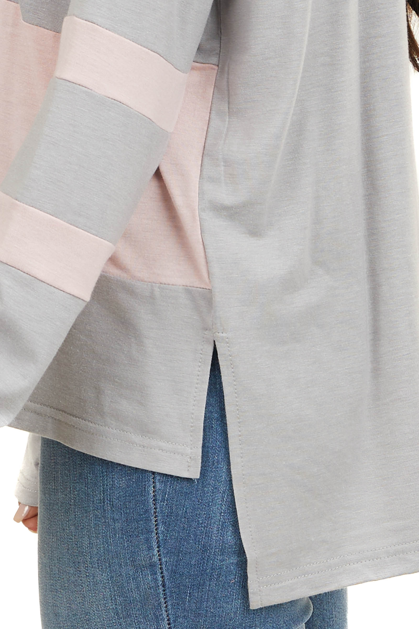 Slate Grey and Baby Pink Color Block Long Sleeve Top