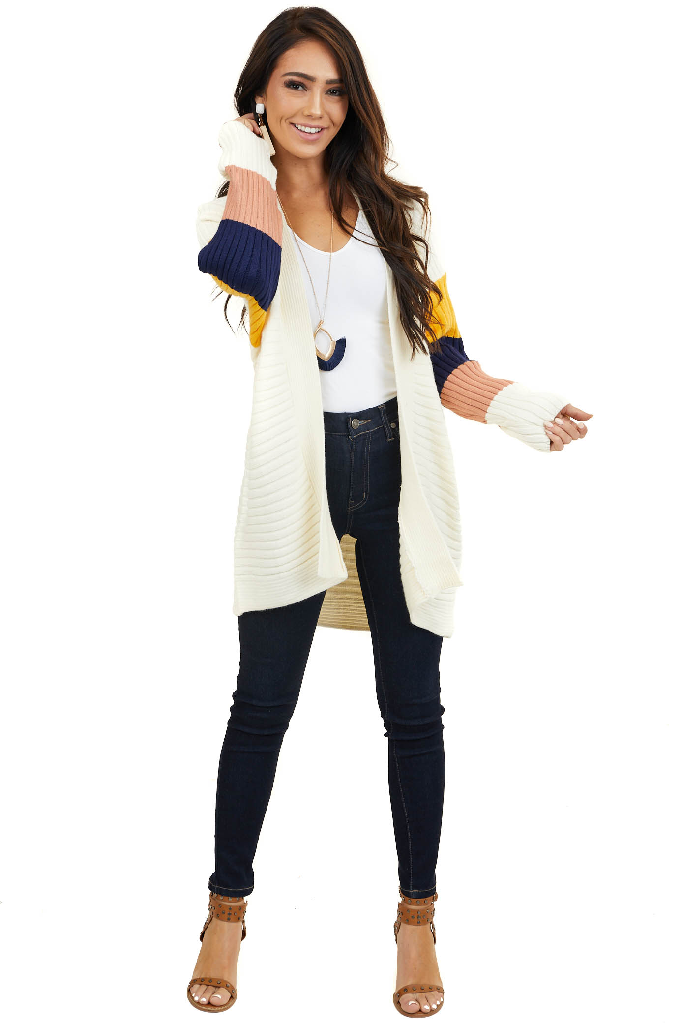 Ivory Ribbed Knit Cardigan with Multicolor Dolman Sleeves