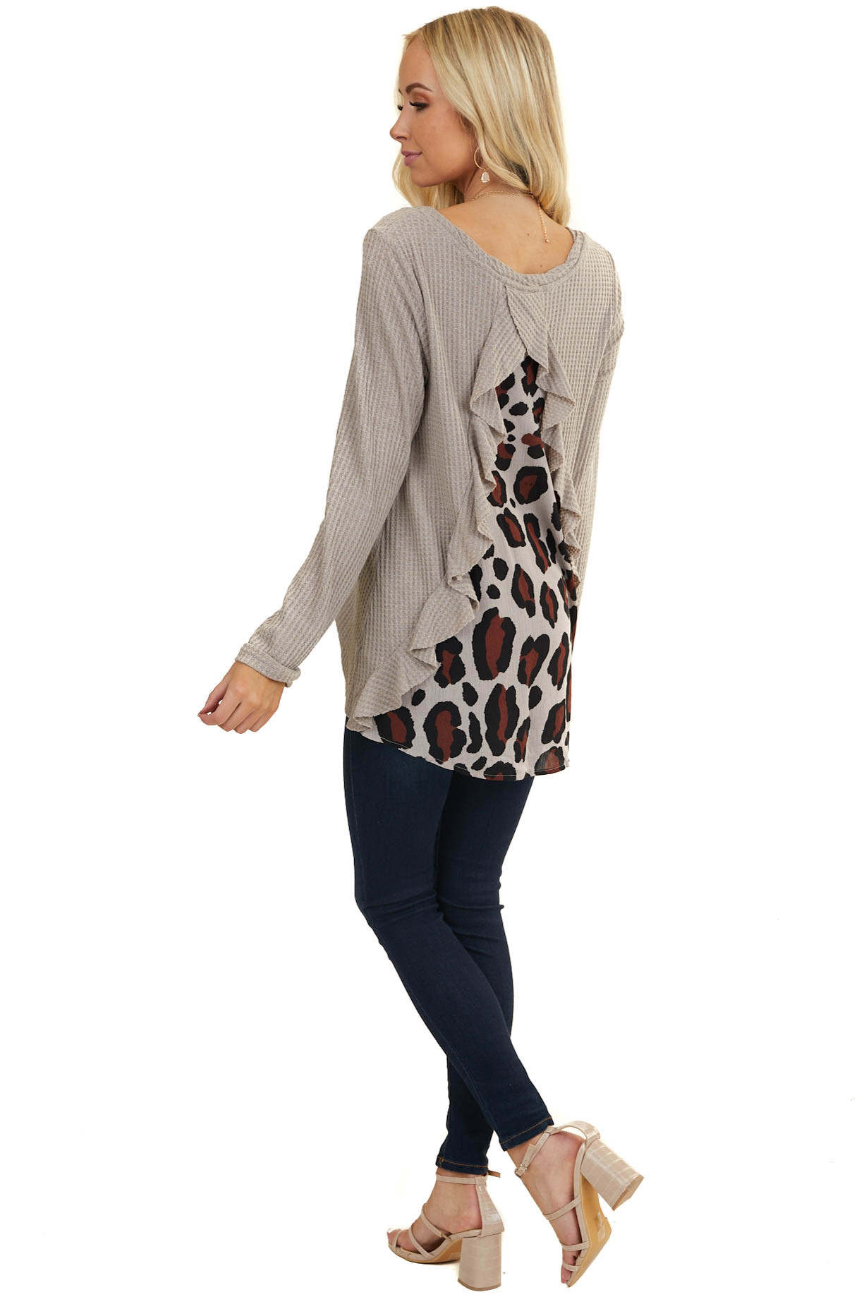 Taupe Long Sleeve Waffle Knit Top with Back Leopard Contrast