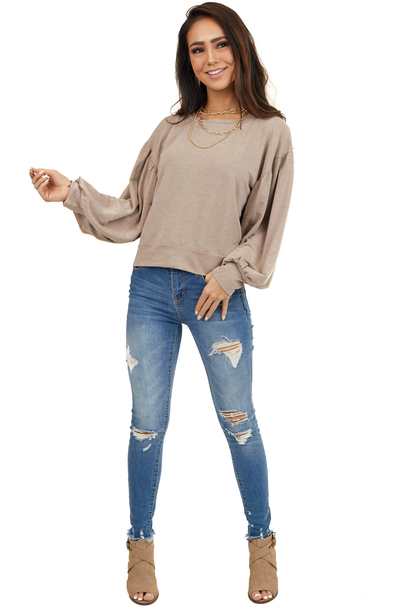 Light Mocha Lantern Sleeve French Terry Pullover Top