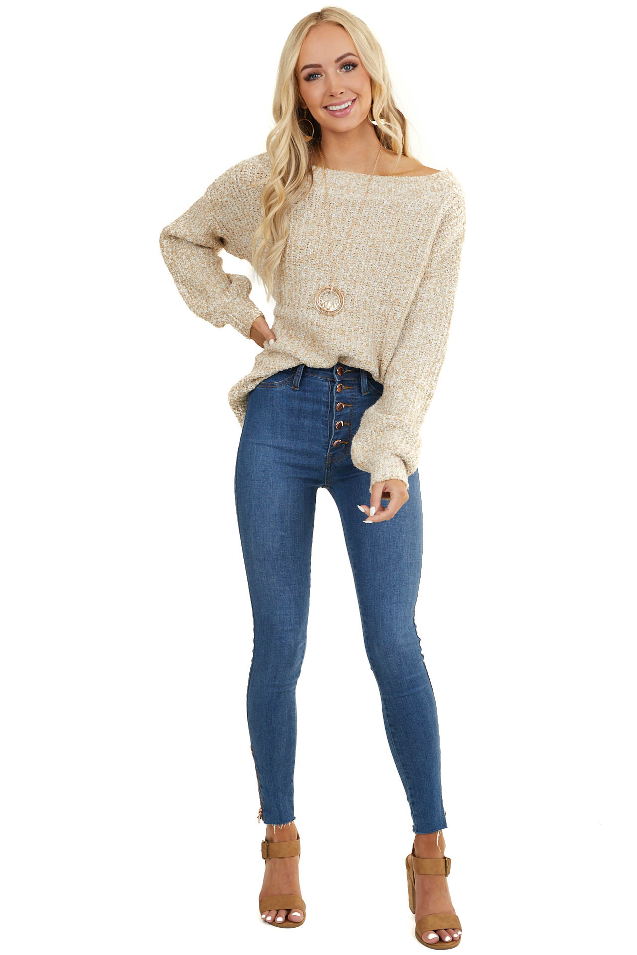 Beige and Off White Off Shoulder Long Sleeve Sweater
