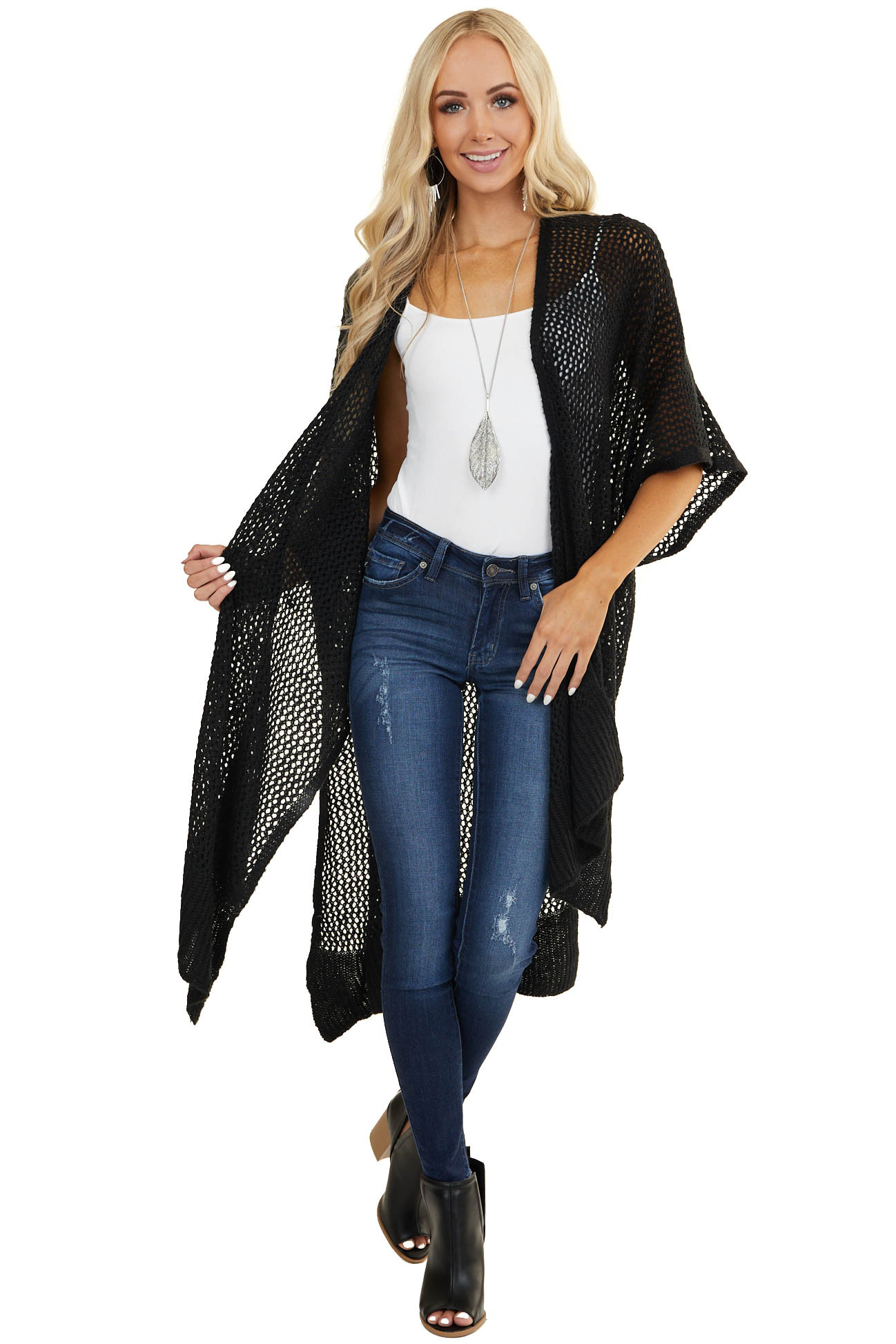 Black Loose Knit Open Front Cardigan with Half Sleeves