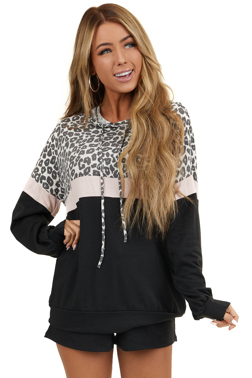 Black and Blush Leopard Print Hoodie with Shorts Lounge Set