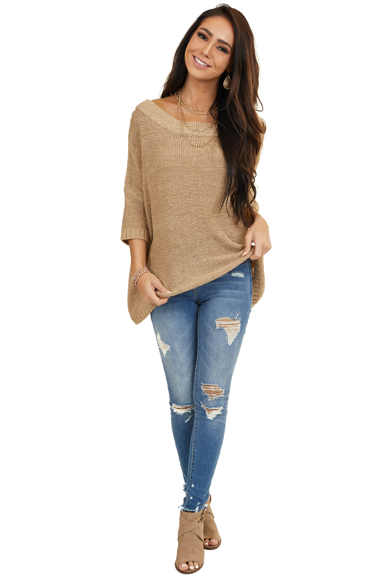 Latte Wide Neck Sweater with Mid Length Dolman Sleeves