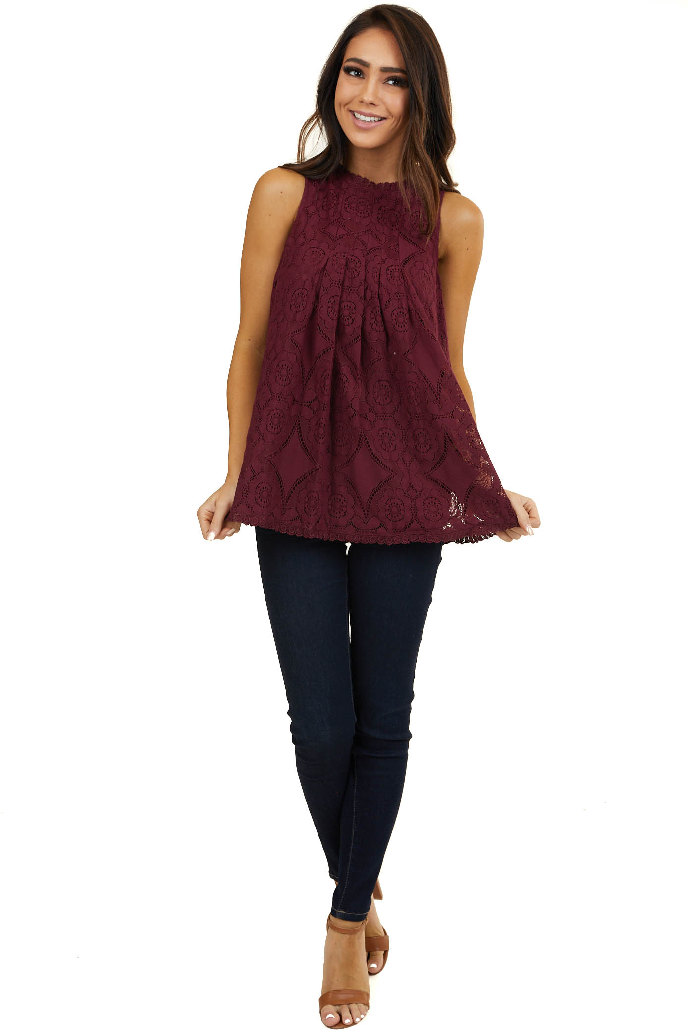 Plum Floral Lace Sleeveless Woven Top with Silky Lining