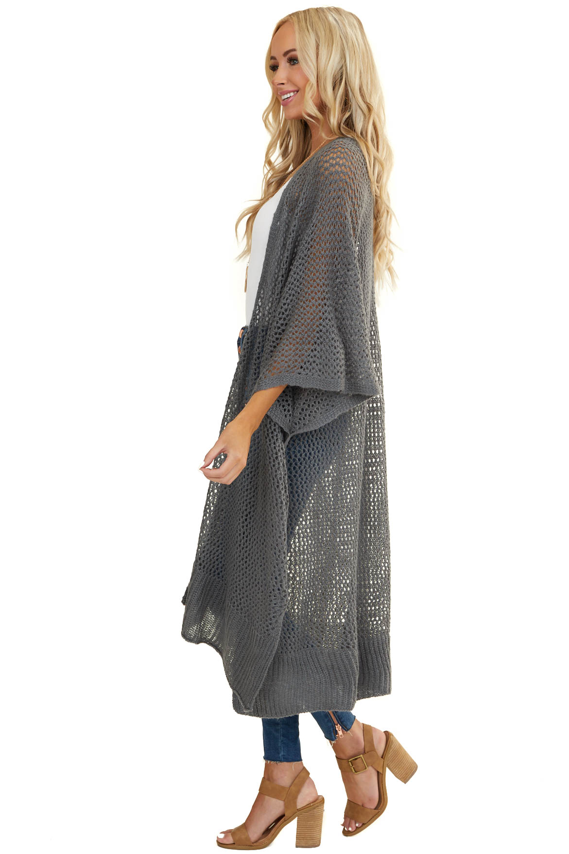 Stone Grey Loose Knit Open Front Cardigan with Half Sleeves
