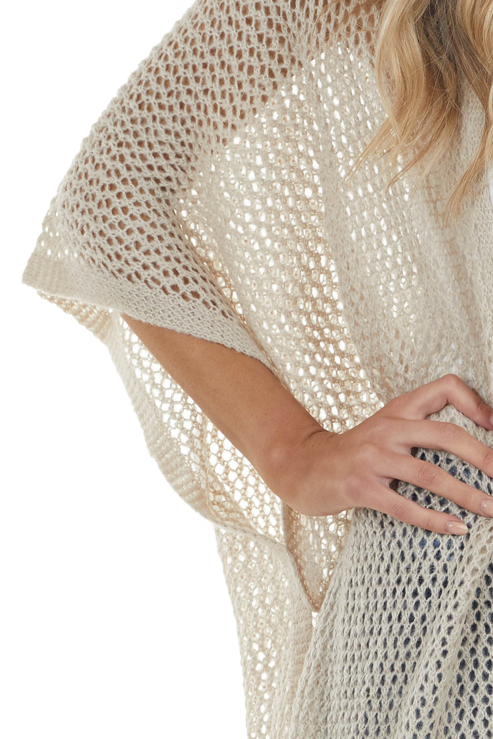 Oatmeal Loose Knit Open Front Cardigan with Half Sleeves