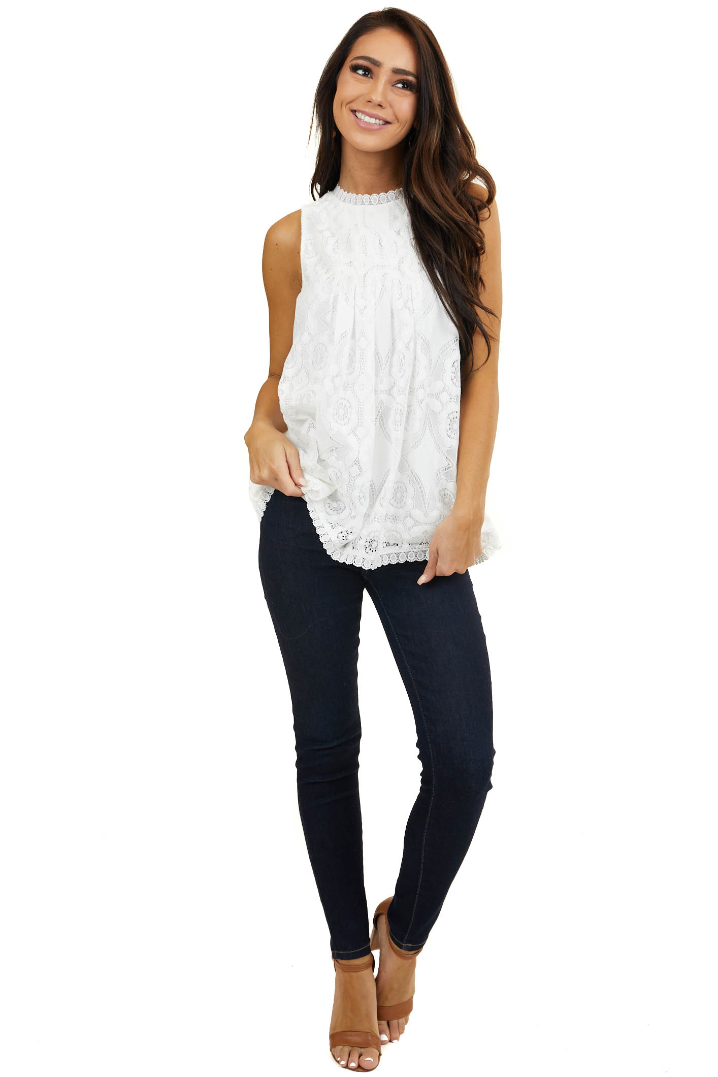Ivory Floral Lace Sleeveless Woven Top with Silky Lining