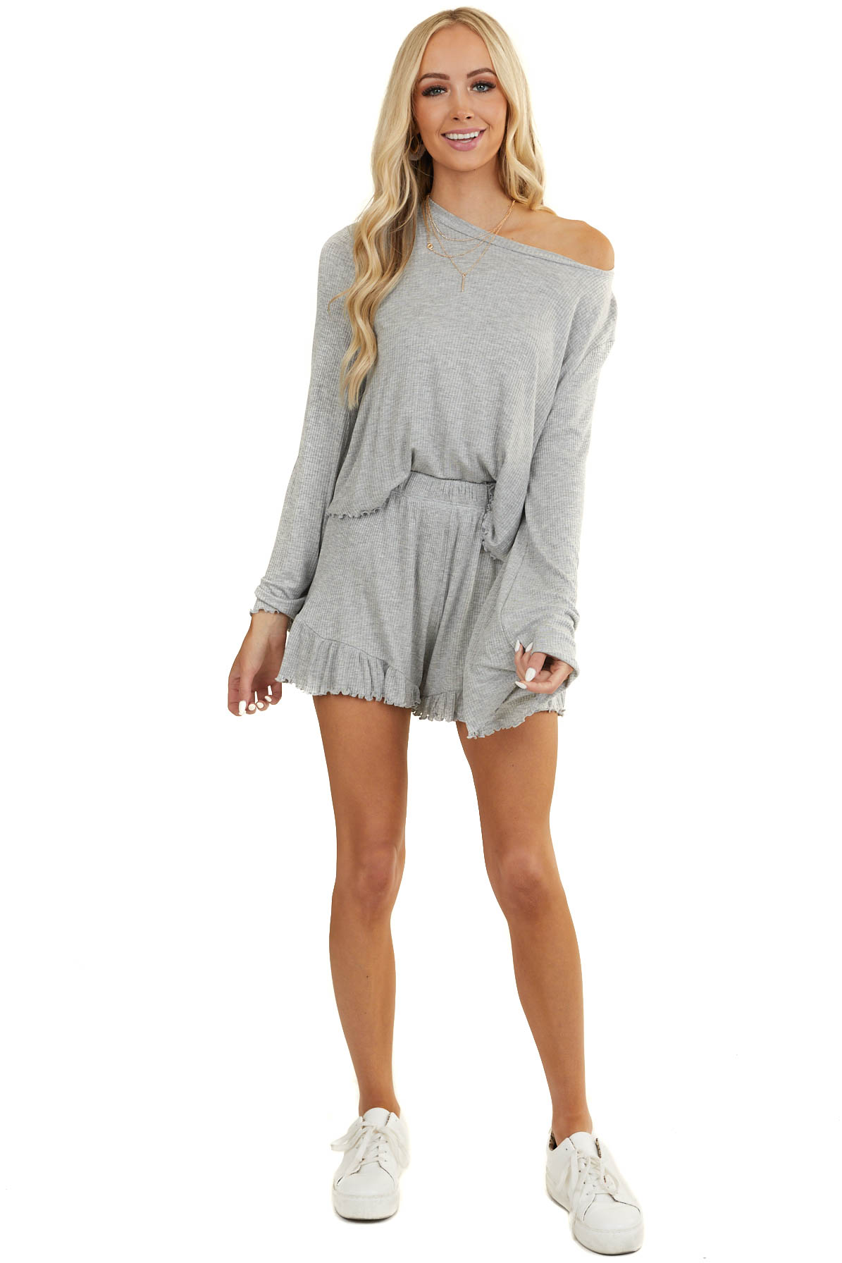 Heather Grey Soft Long Sleeve Top with Shorts Lounge Set