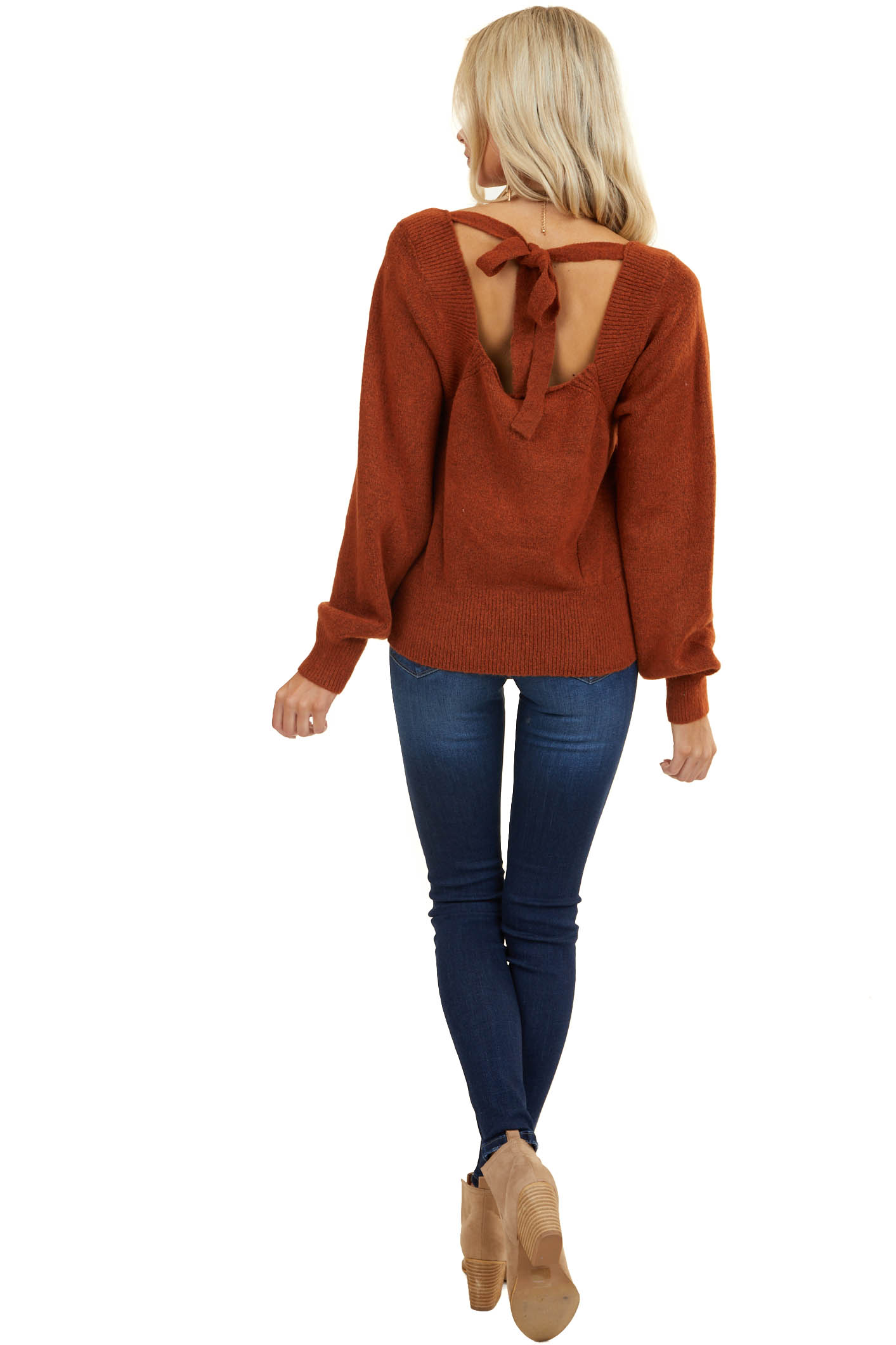Rust Square Neckline Sweater with Back Tie Detail