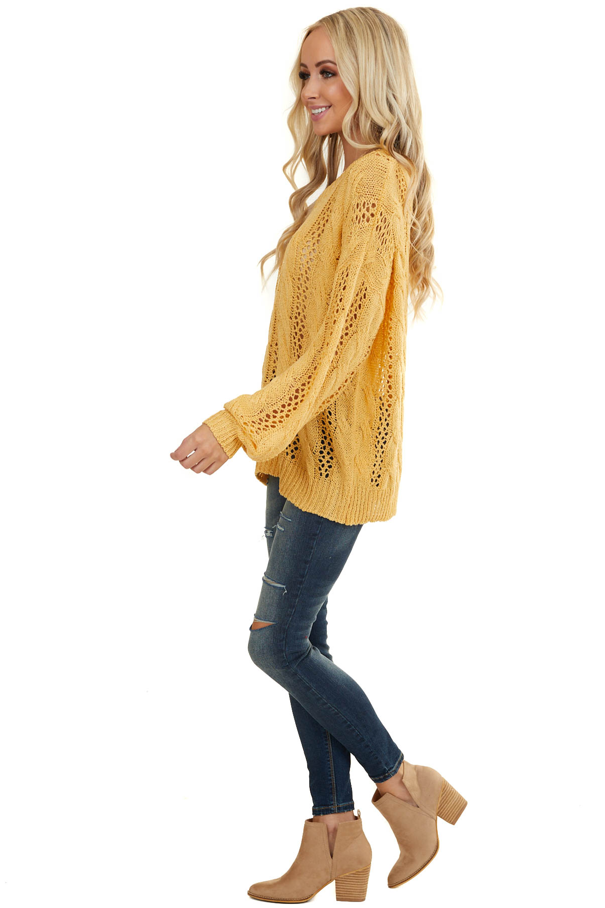 Amber Lightweight Cable Knit Sweater with V Neckline