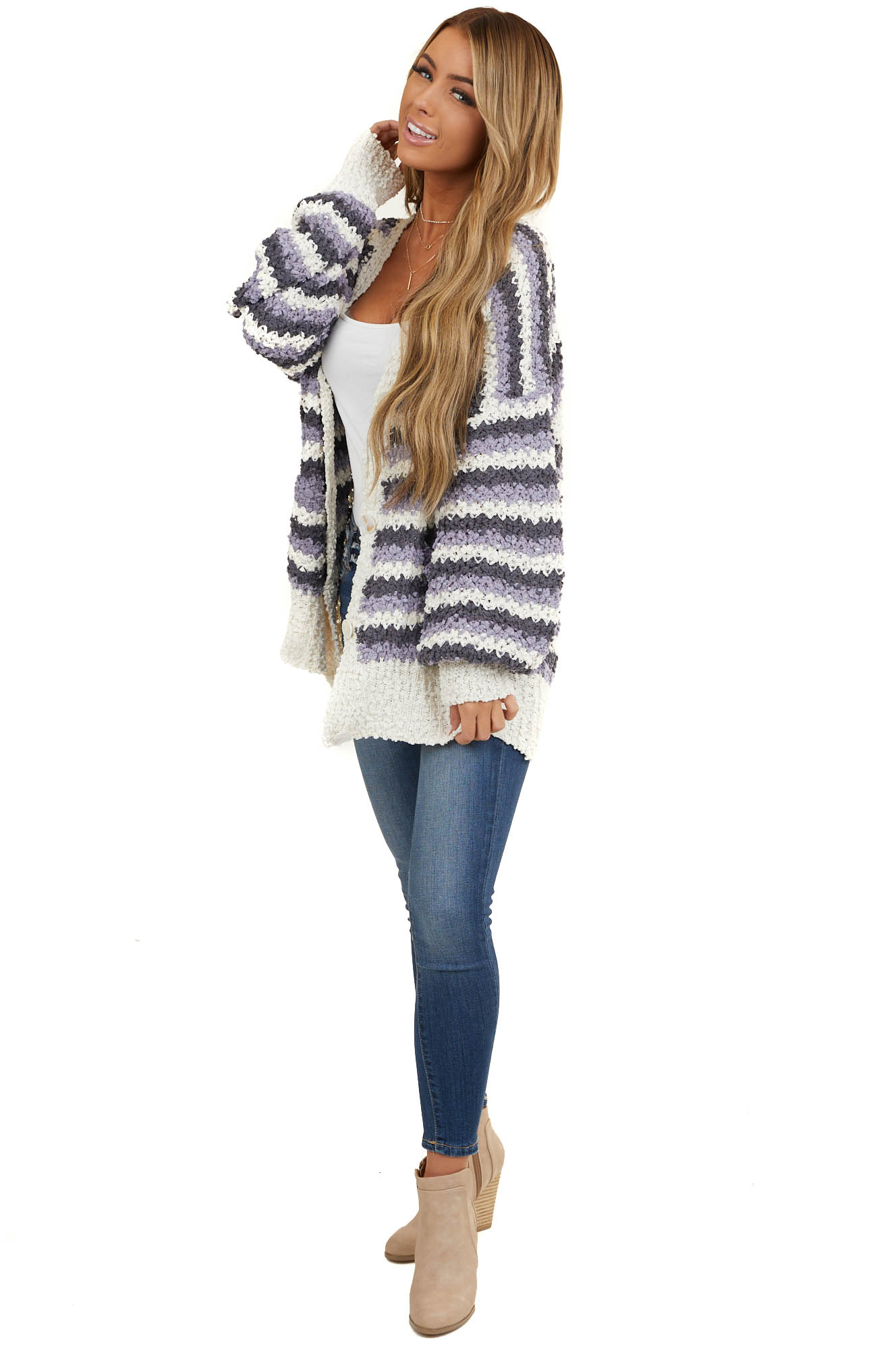 Charcoal and Periwinkle Chunky Knit Button Up Cardigan