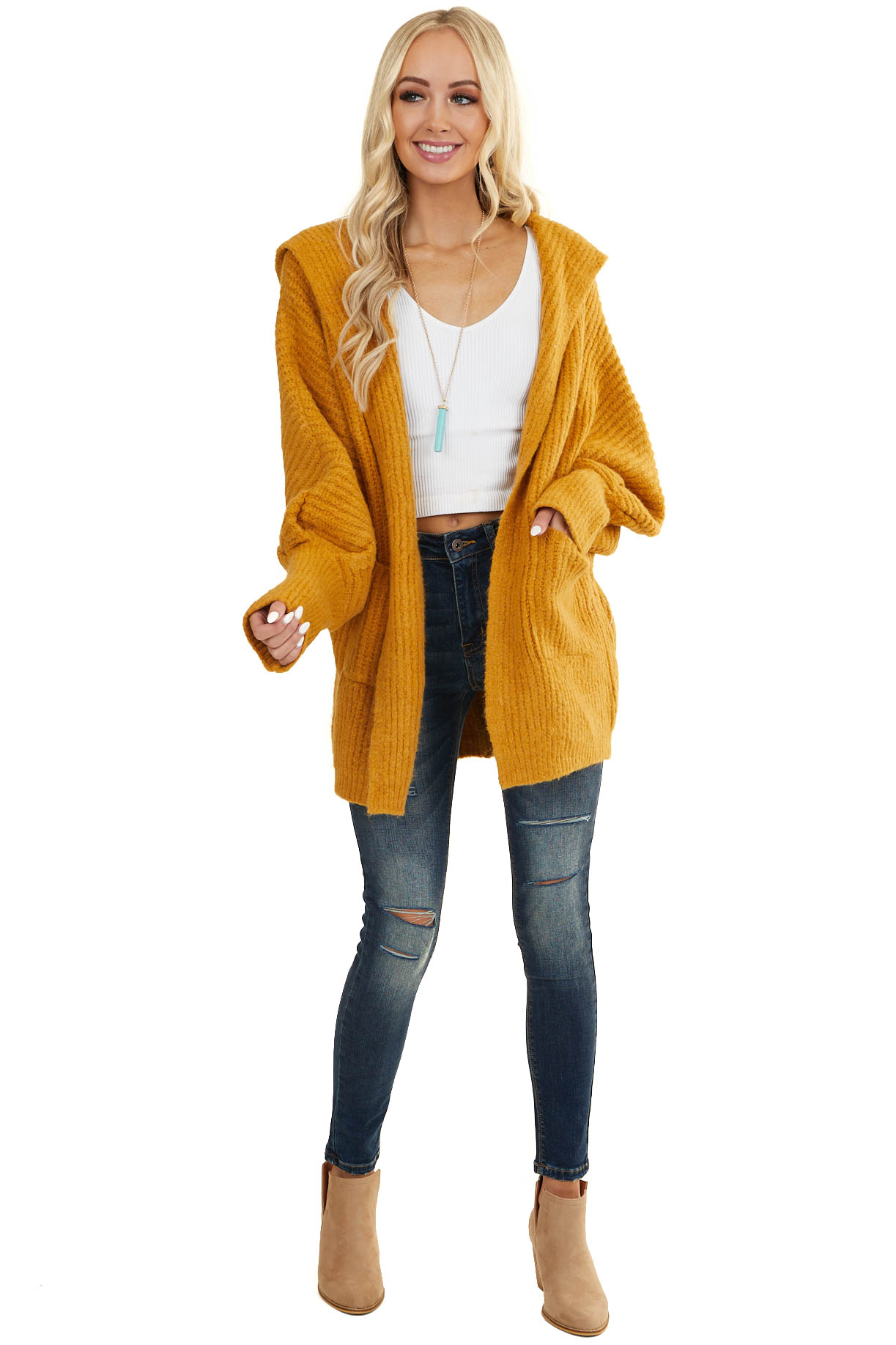 Mustard Oversize Cardigan with Hood and Long Dolman Sleeves