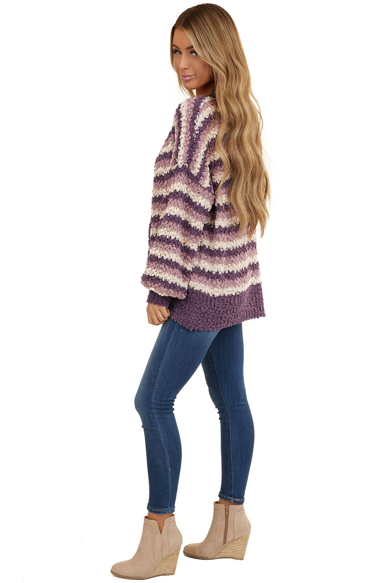 Lilac and Light Eggplant Chunky Knit Button Up Cardigan