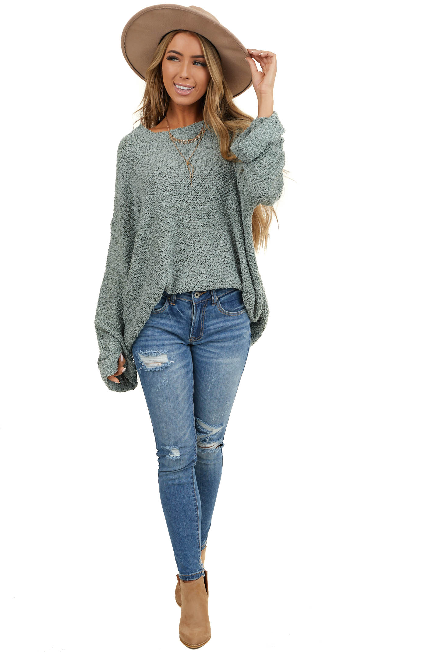 Dark Sage Popcorn Textured Knit Sweater with Bell Sleeves