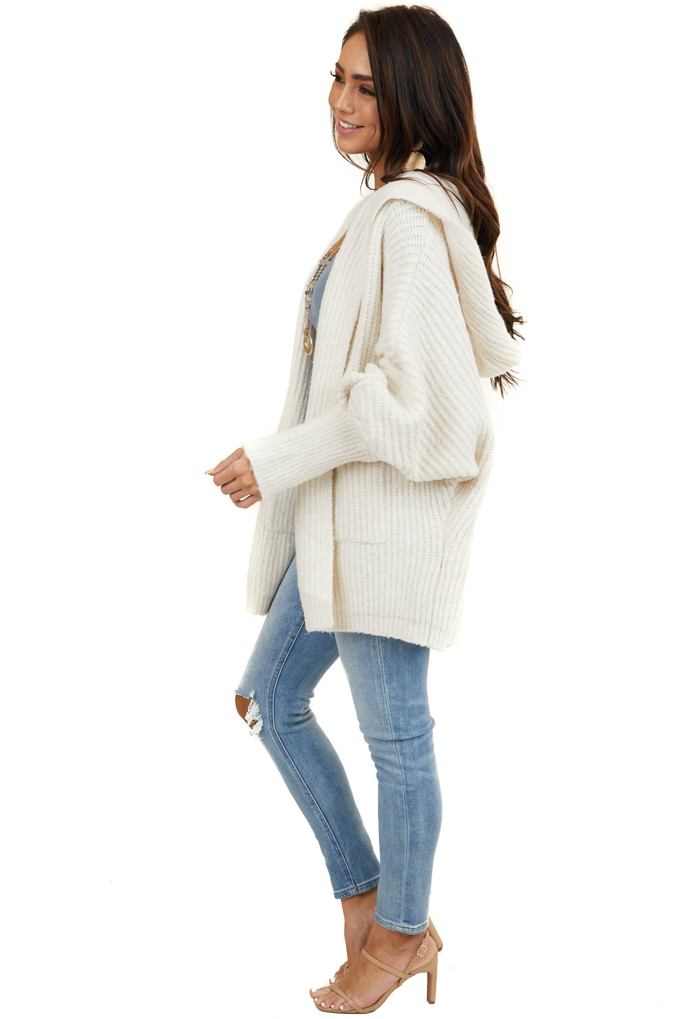 Ivory Oversize Cardigan with Hood and Long Dolman Sleeves
