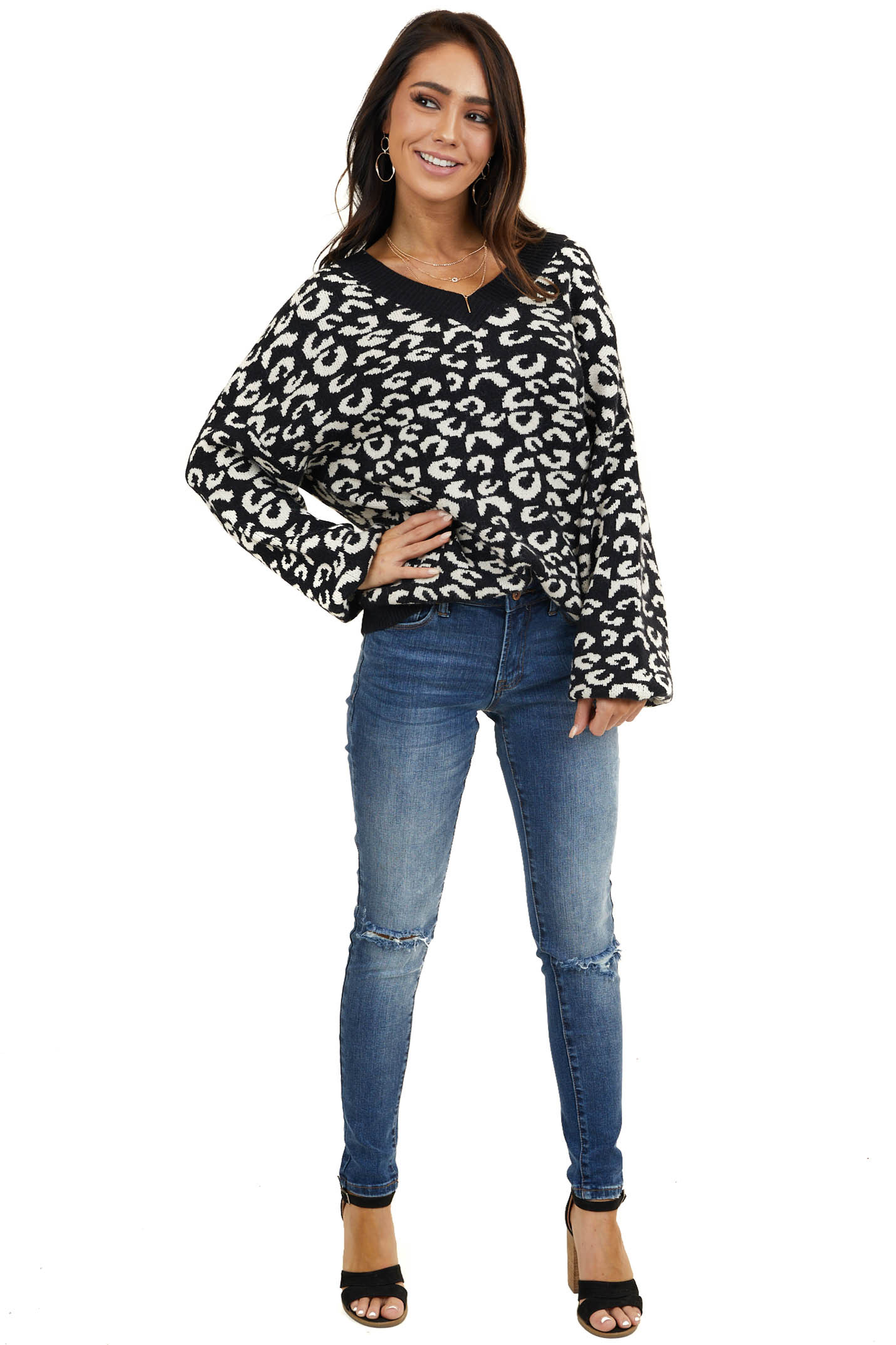 Black Leopard Print V Neck Sweater with Bubble Sleeves