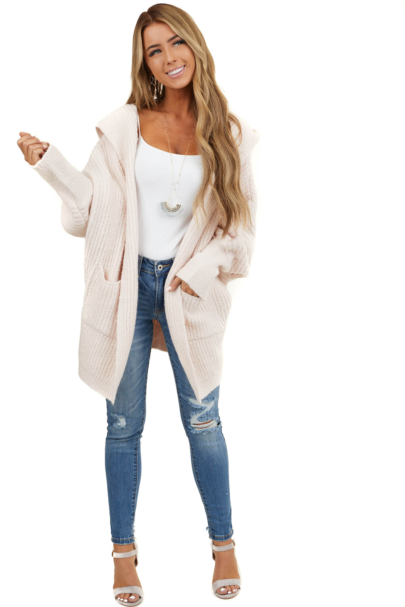 Blush Oversize Cardigan with Hood and Long Dolman Sleeves