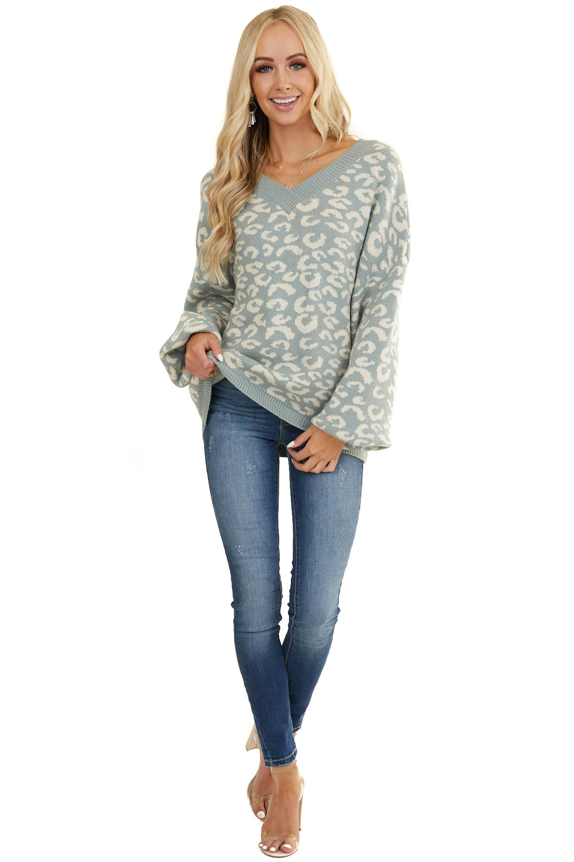 Faded Teal Leopard Print V Neck Sweater with Bubble Sleeves