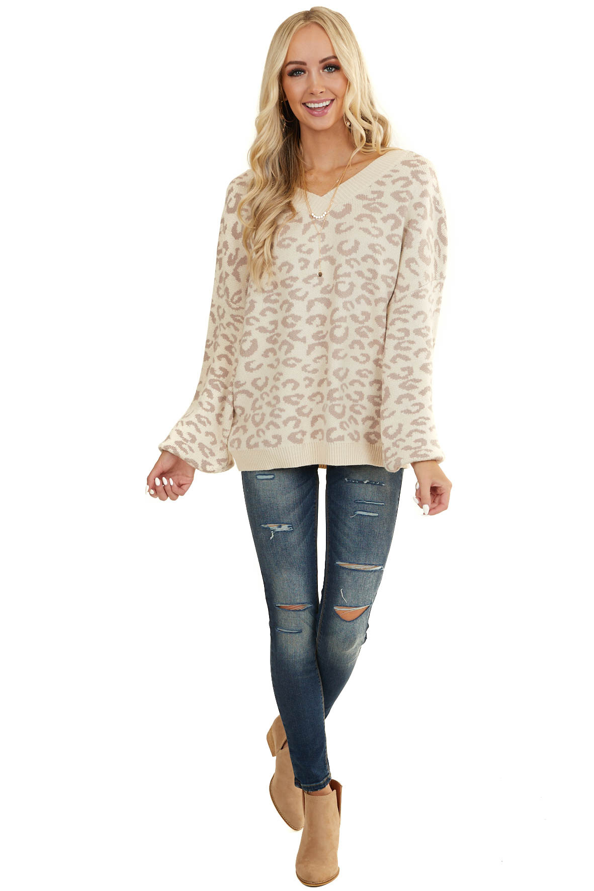 Cream Leopard Print V Neck Sweater with Bubble Sleeves
