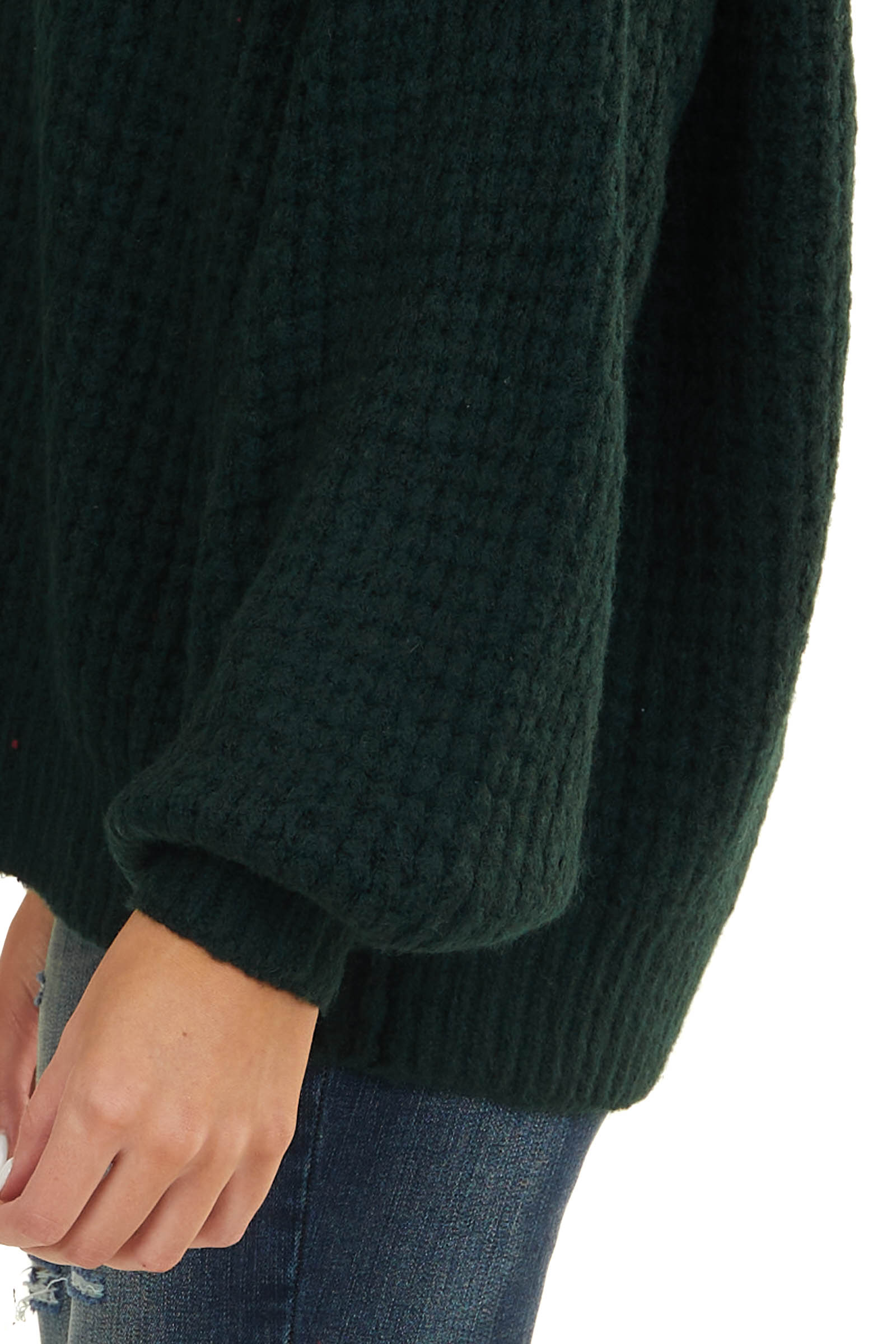Forest Green Textured Waffle Knit Sweater with V Neckline